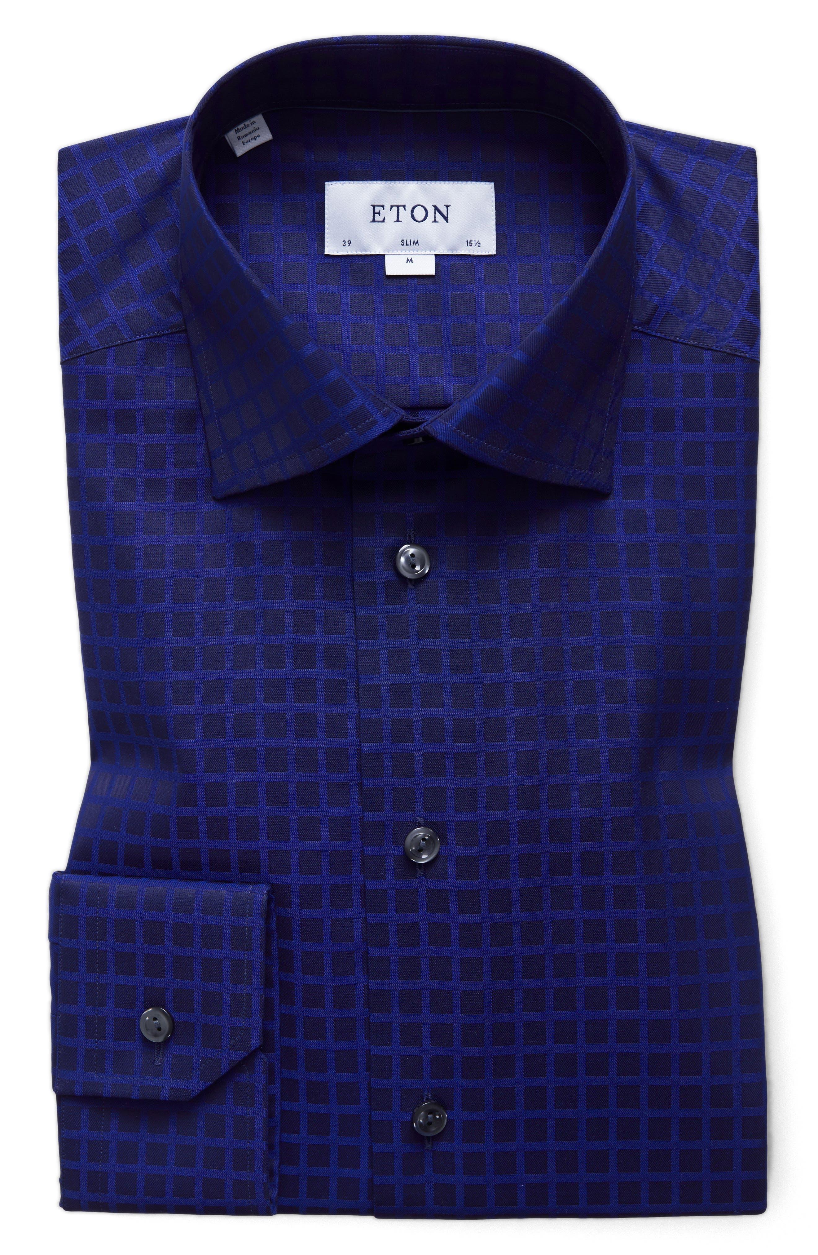 Slim Fit Check Dress Shirt,                             Main thumbnail 1, color,                             400