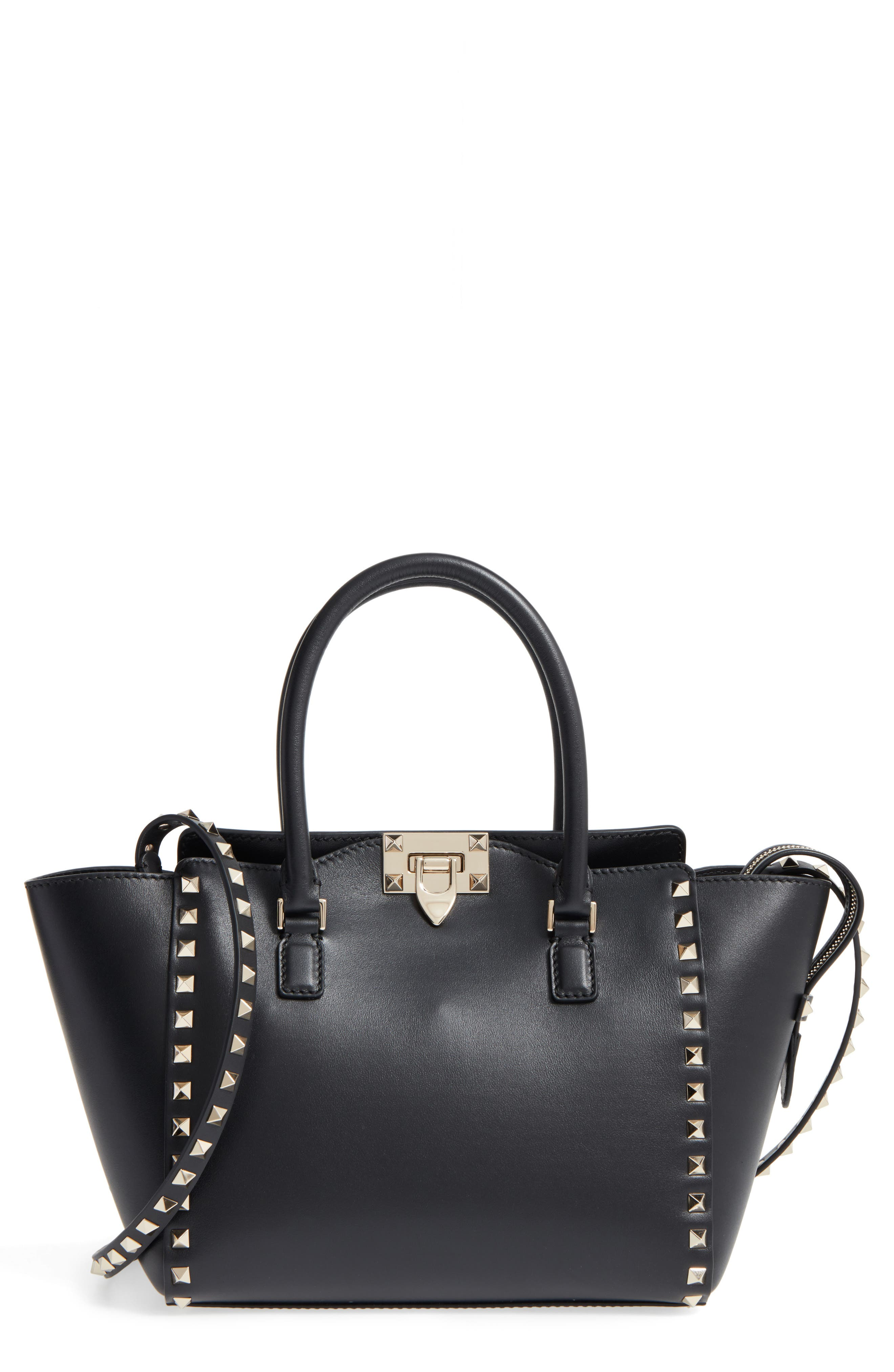 Rockstud Small Double Handle Leather Tote,                             Alternate thumbnail 2, color,                             001