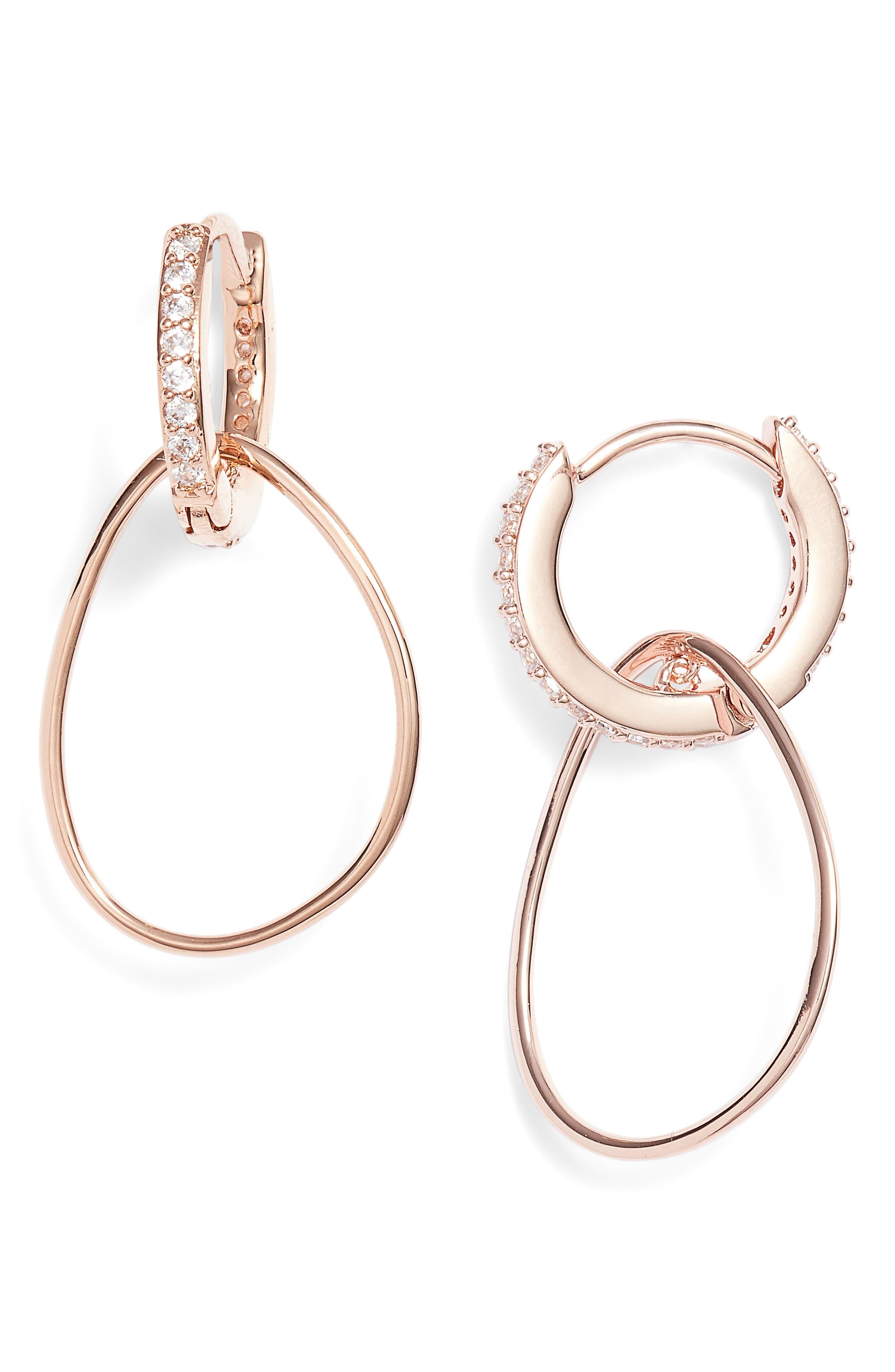Dual Sparkle Hoop Earrings,                             Main thumbnail 2, color,