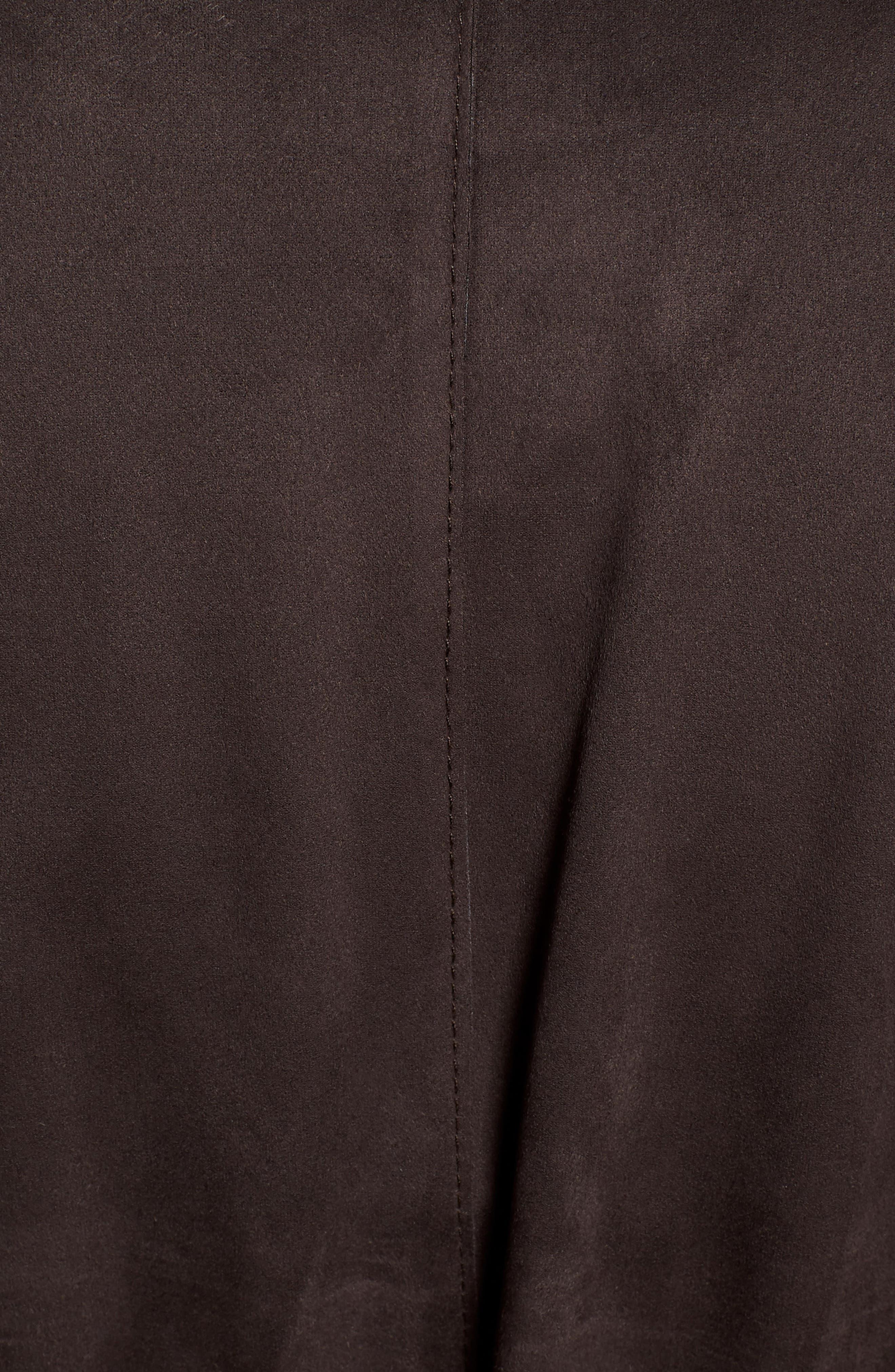 Faux Suede Front Drape Trench Coat,                             Alternate thumbnail 7, color,                             201