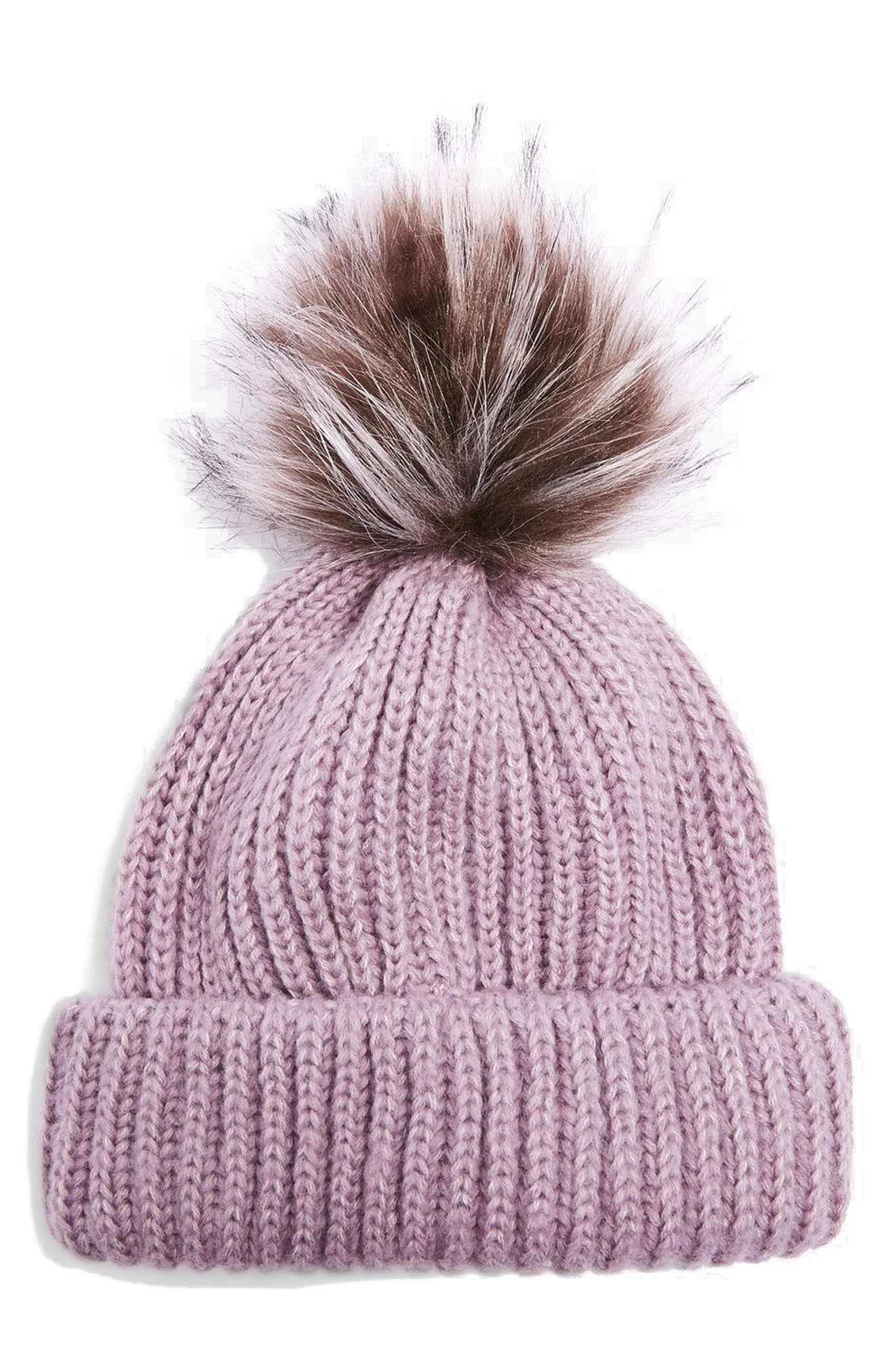 Faux Fur Pompom Beanie,                             Main thumbnail 4, color,