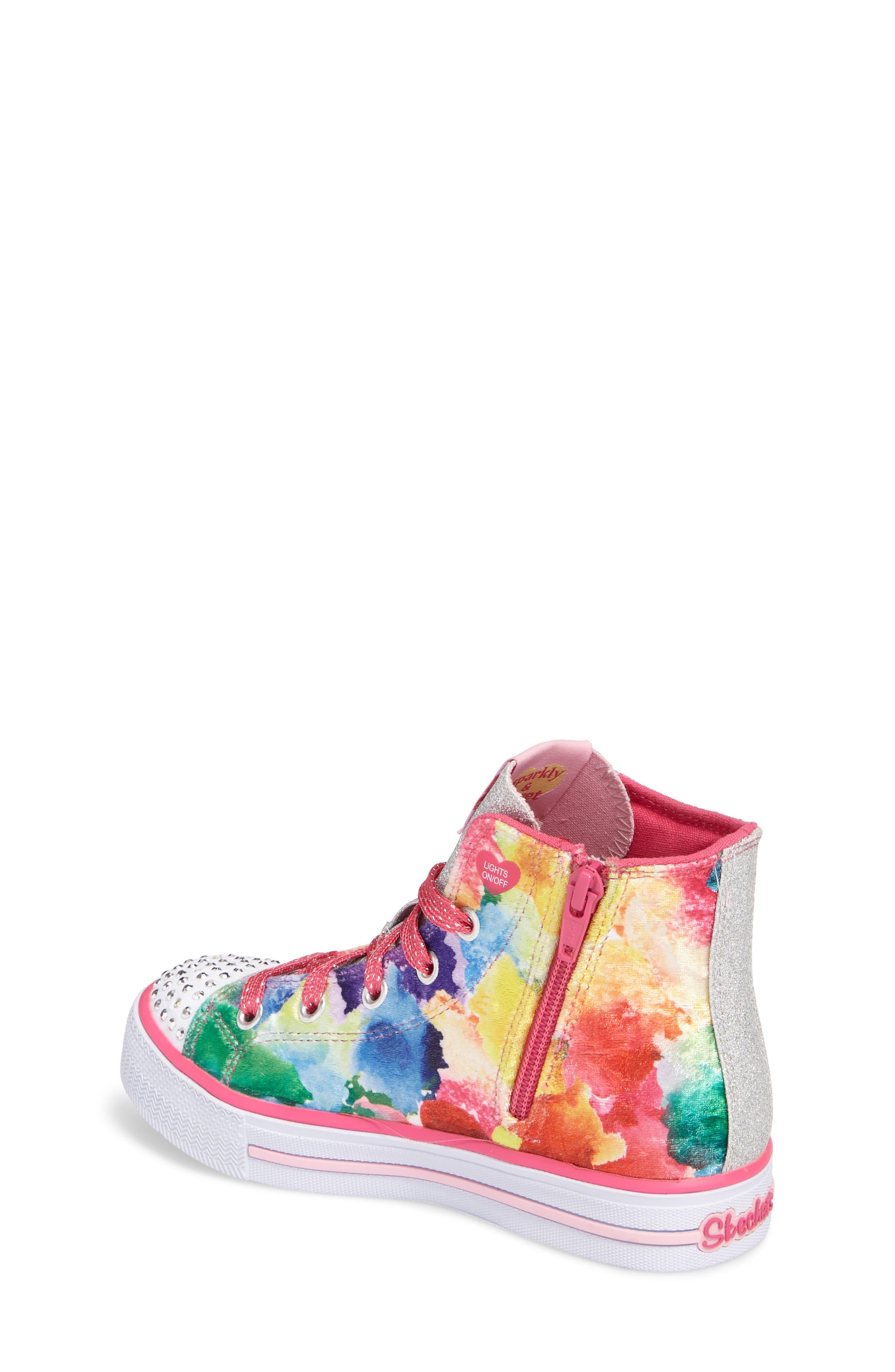 SKECHERS,                             Twinkle Toes Shuffles Light-Up High Top Sneaker,                             Alternate thumbnail 2, color,                             650