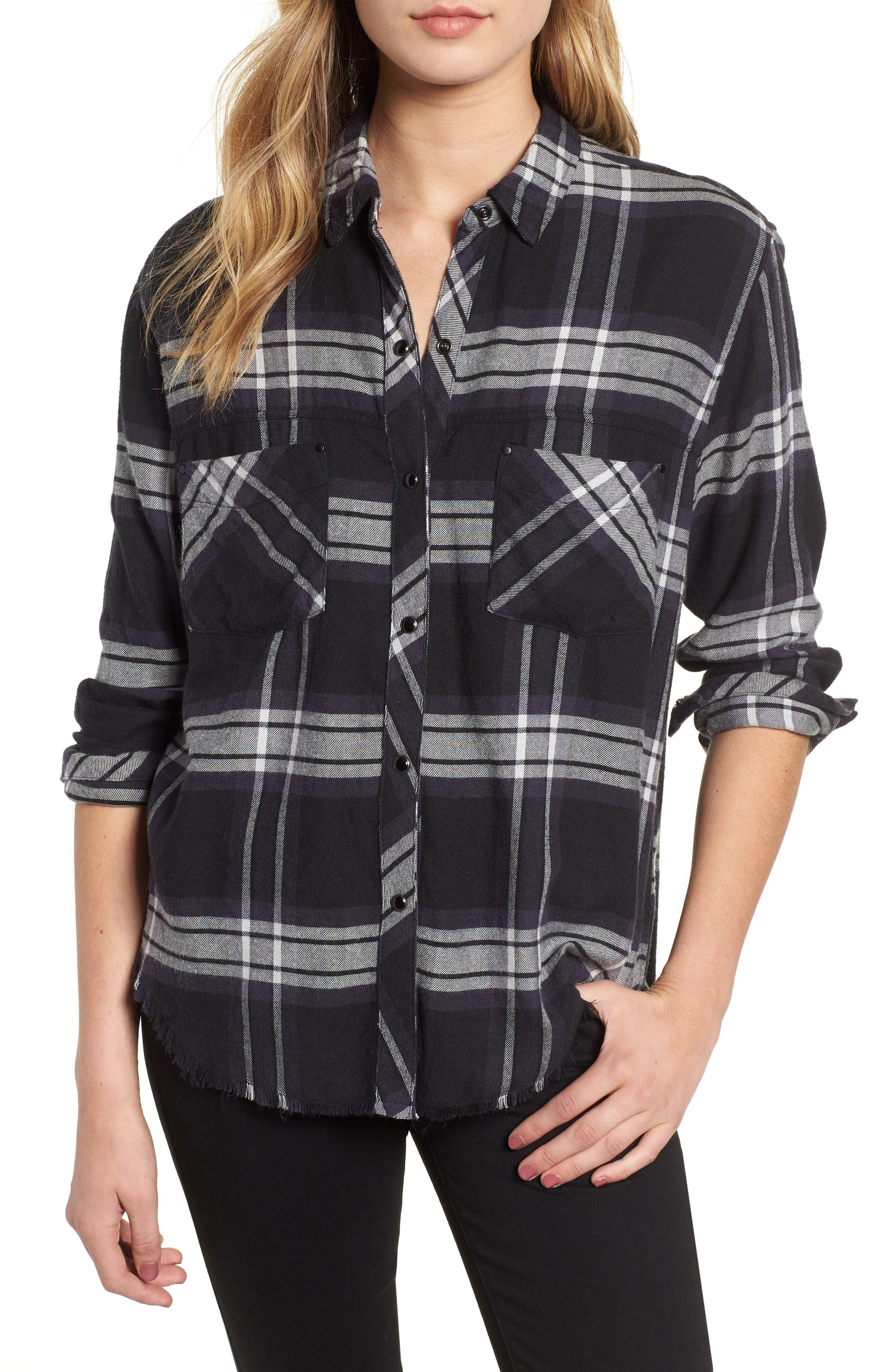 Leo Plaid Woven Shirt,                         Main,                         color, BLACK ASH WHITE