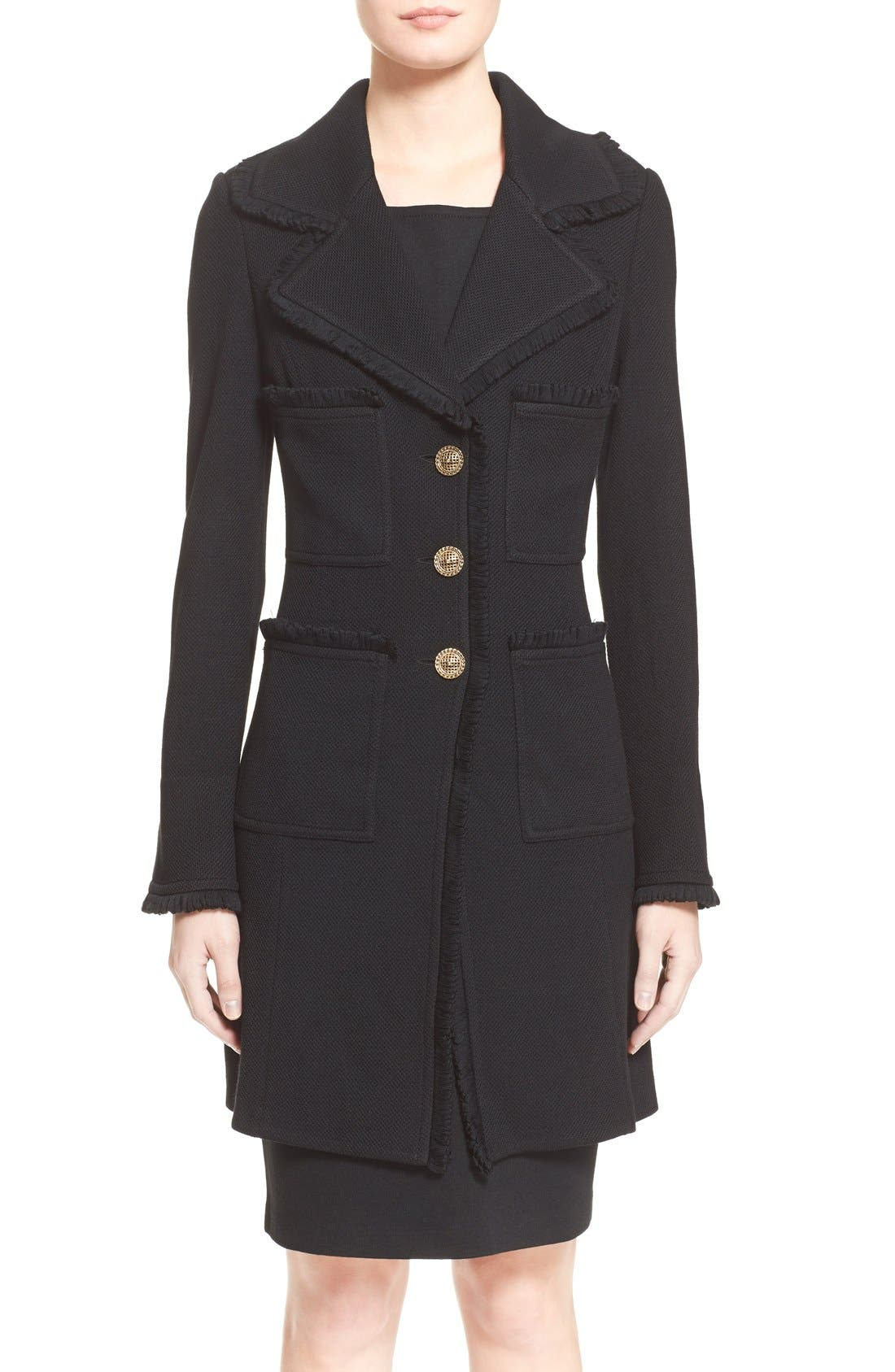 ST. JOHN COLLECTION Fringe Trim Milano Piqué Knit Coat, Main, color, CAVIAR