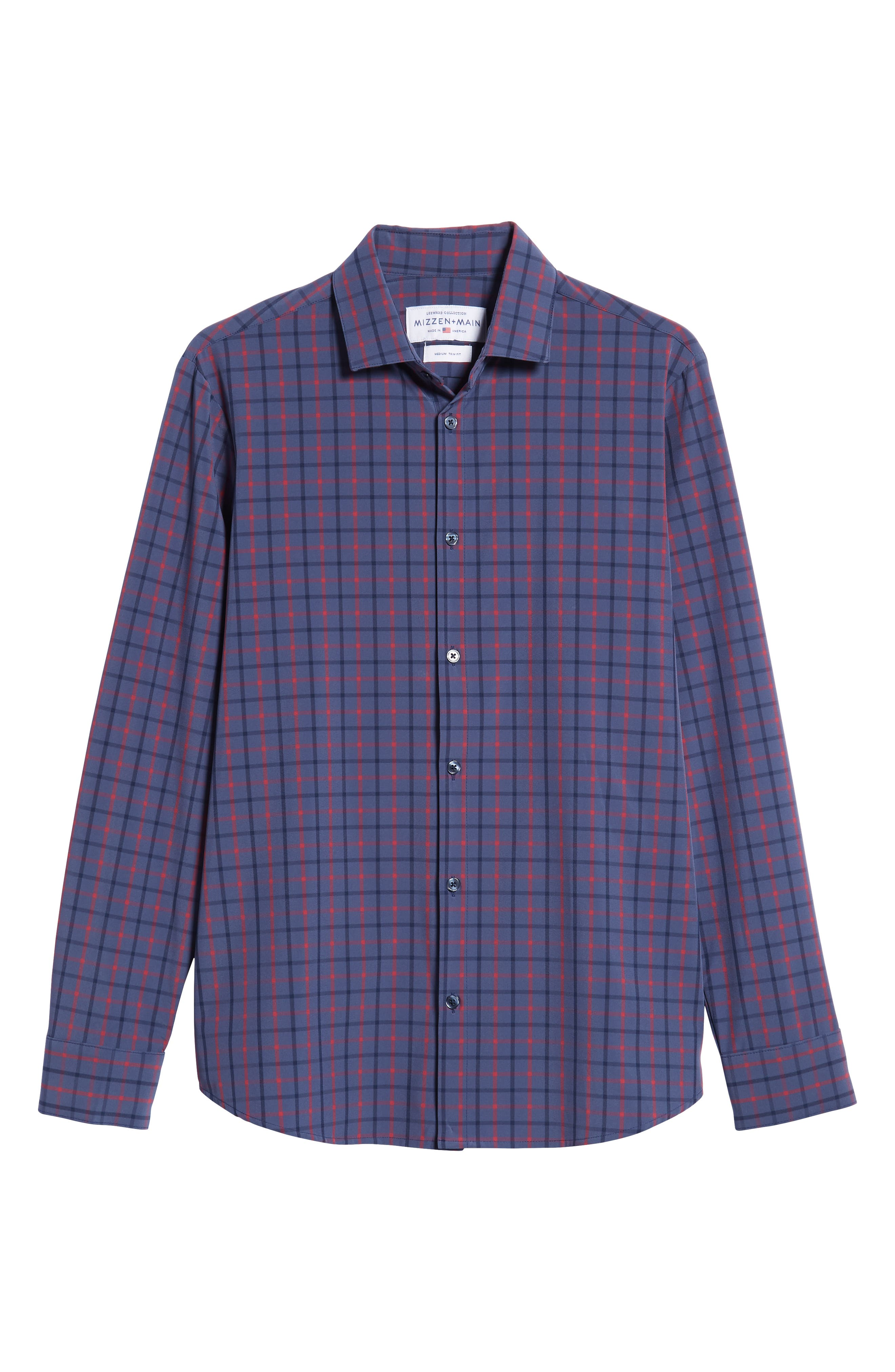 Wilson Slim Fit Plaid Performance Sport Shirt,                             Alternate thumbnail 5, color,                             BLUE