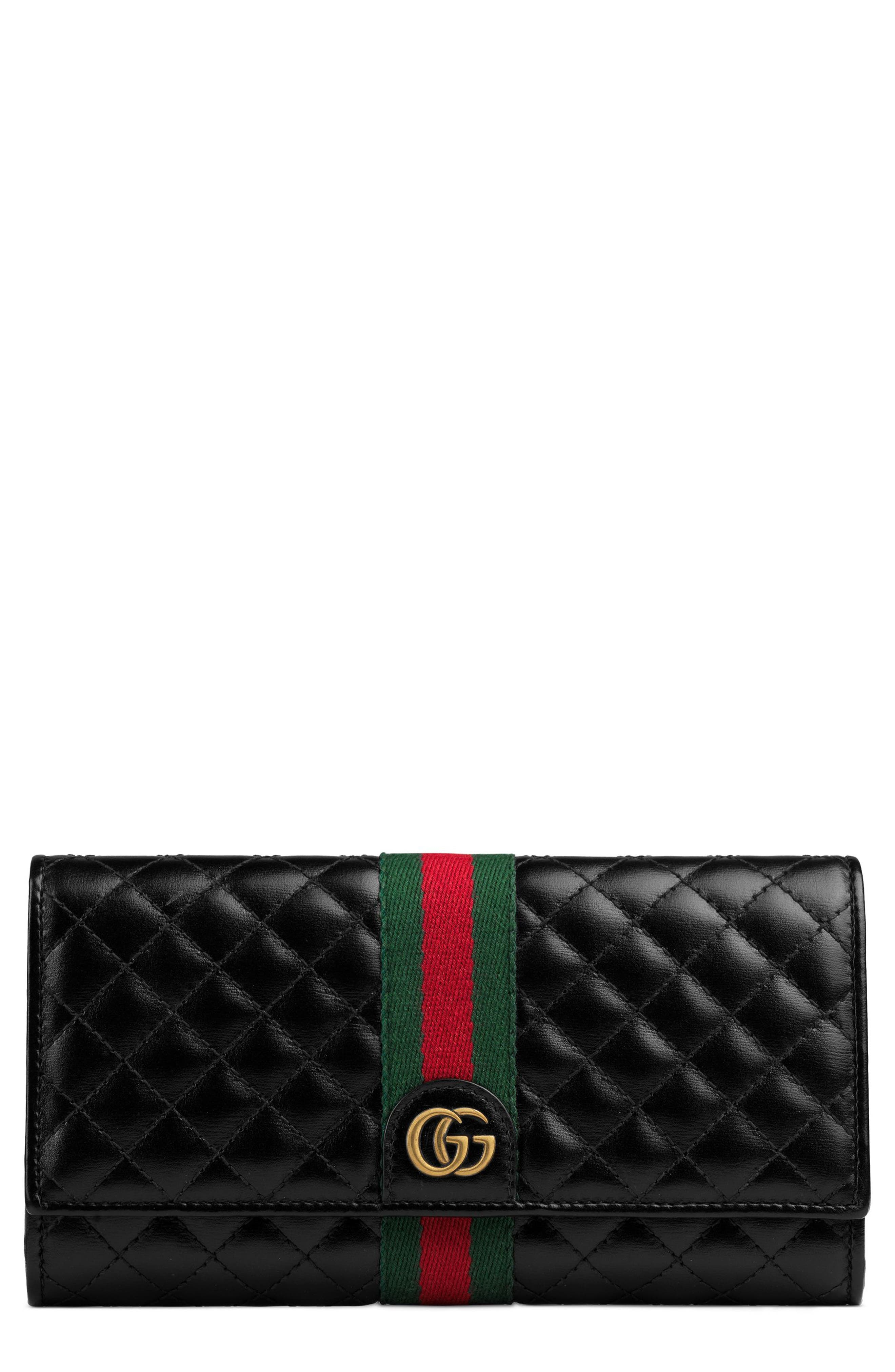 Quilted Leather Continental Wallet,                         Main,                         color, NERO/ VERT/ RED