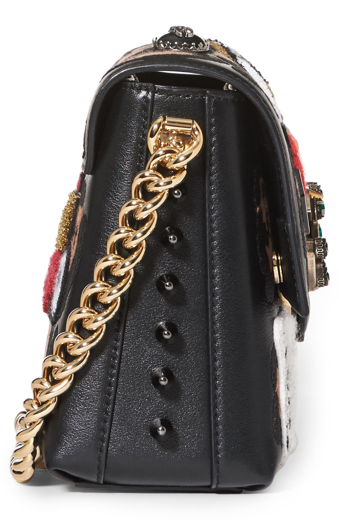 Millennials Embellished Leather Shoulder Bag,                             Alternate thumbnail 4, color,                             001