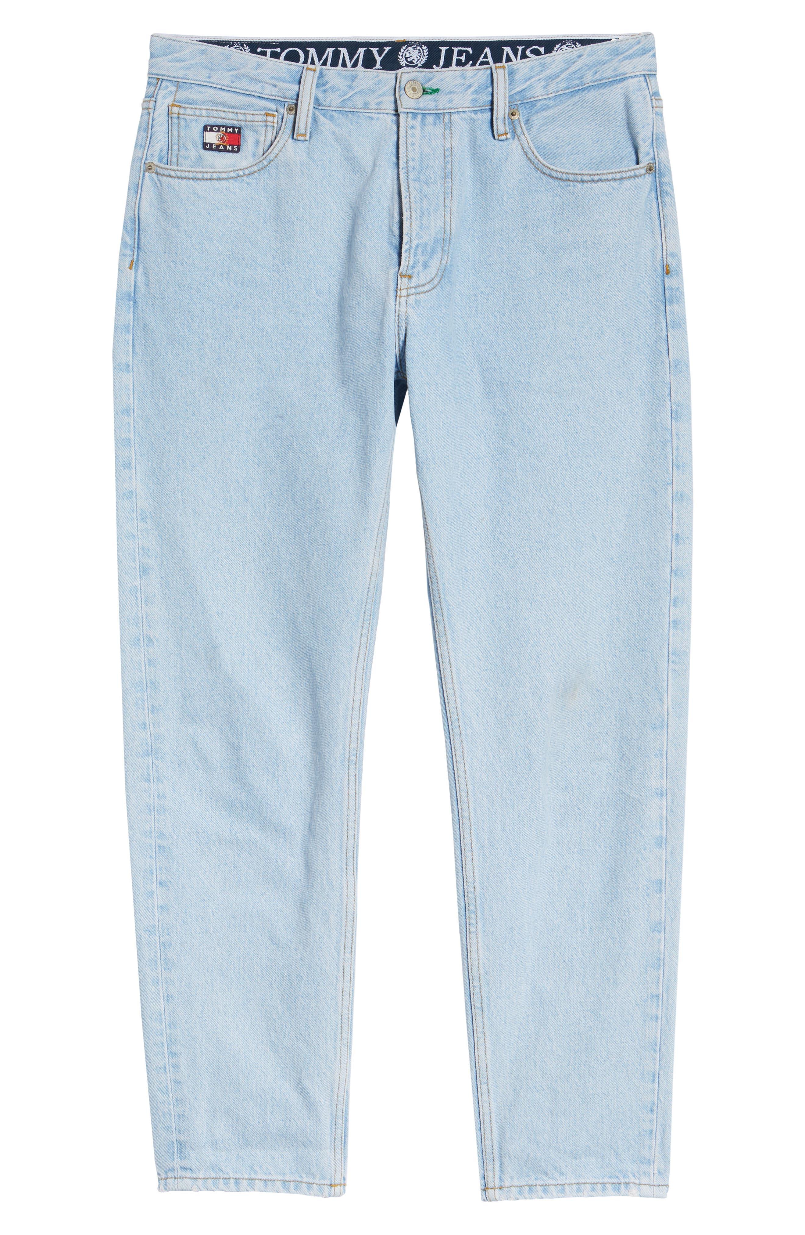 Crest Straight Leg Dad Jeans,                             Alternate thumbnail 6, color,                             LIGHT BLUE DENIM