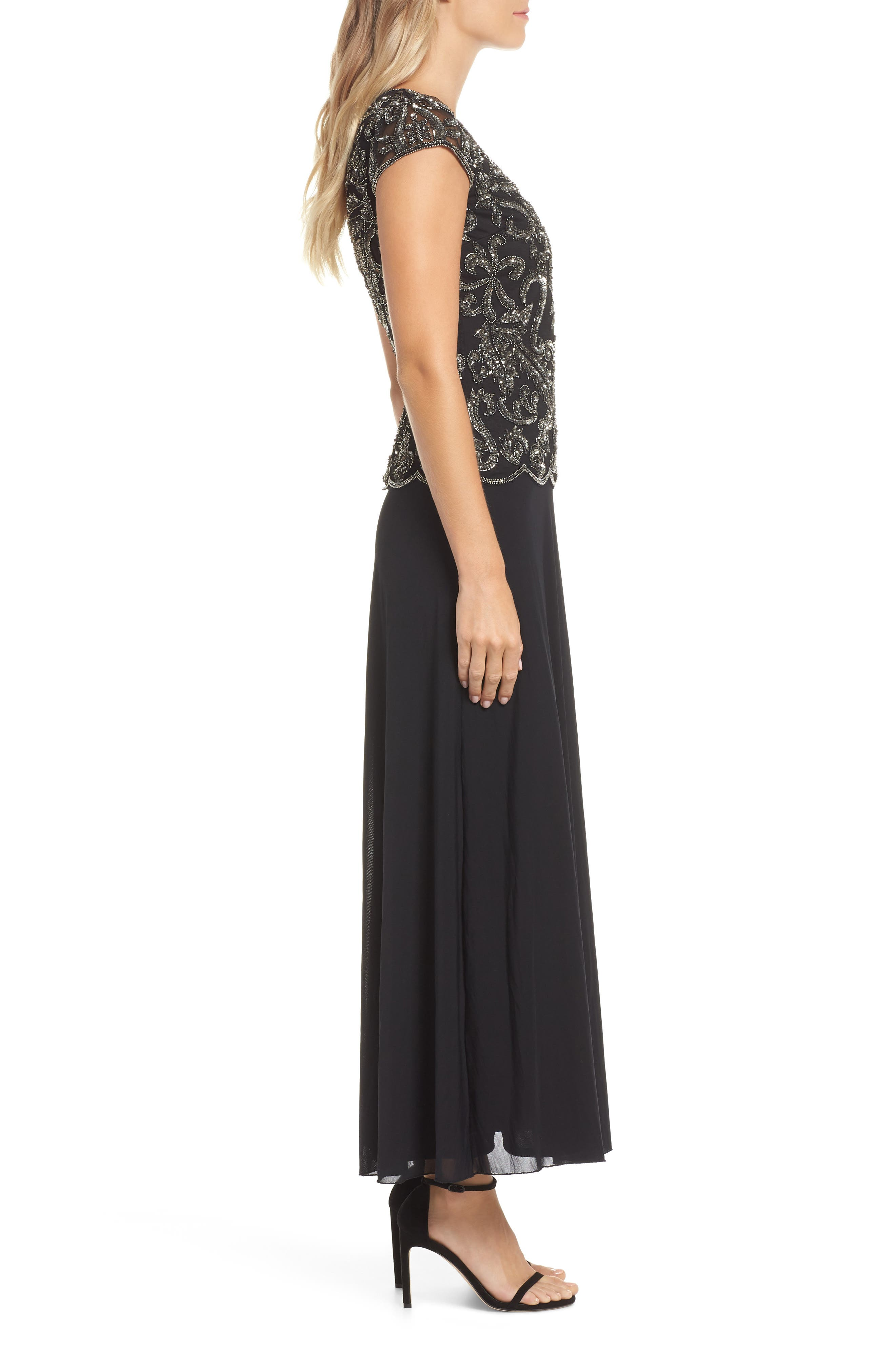 PISARRO NIGHTS,                             Beaded Mesh Mock Two-Piece Gown,                             Alternate thumbnail 4, color,                             001