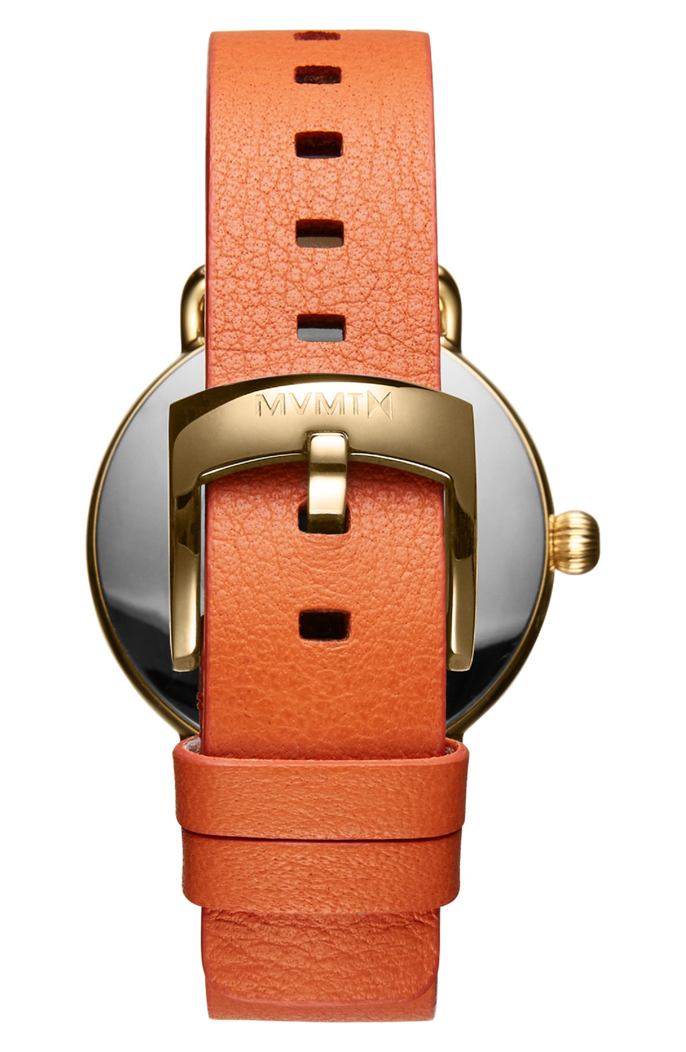 MVMT,                             Bloom Leather Strap Watch, 36mm,                             Alternate thumbnail 3, color,                             ORANGE/ WHITE/ GOLD