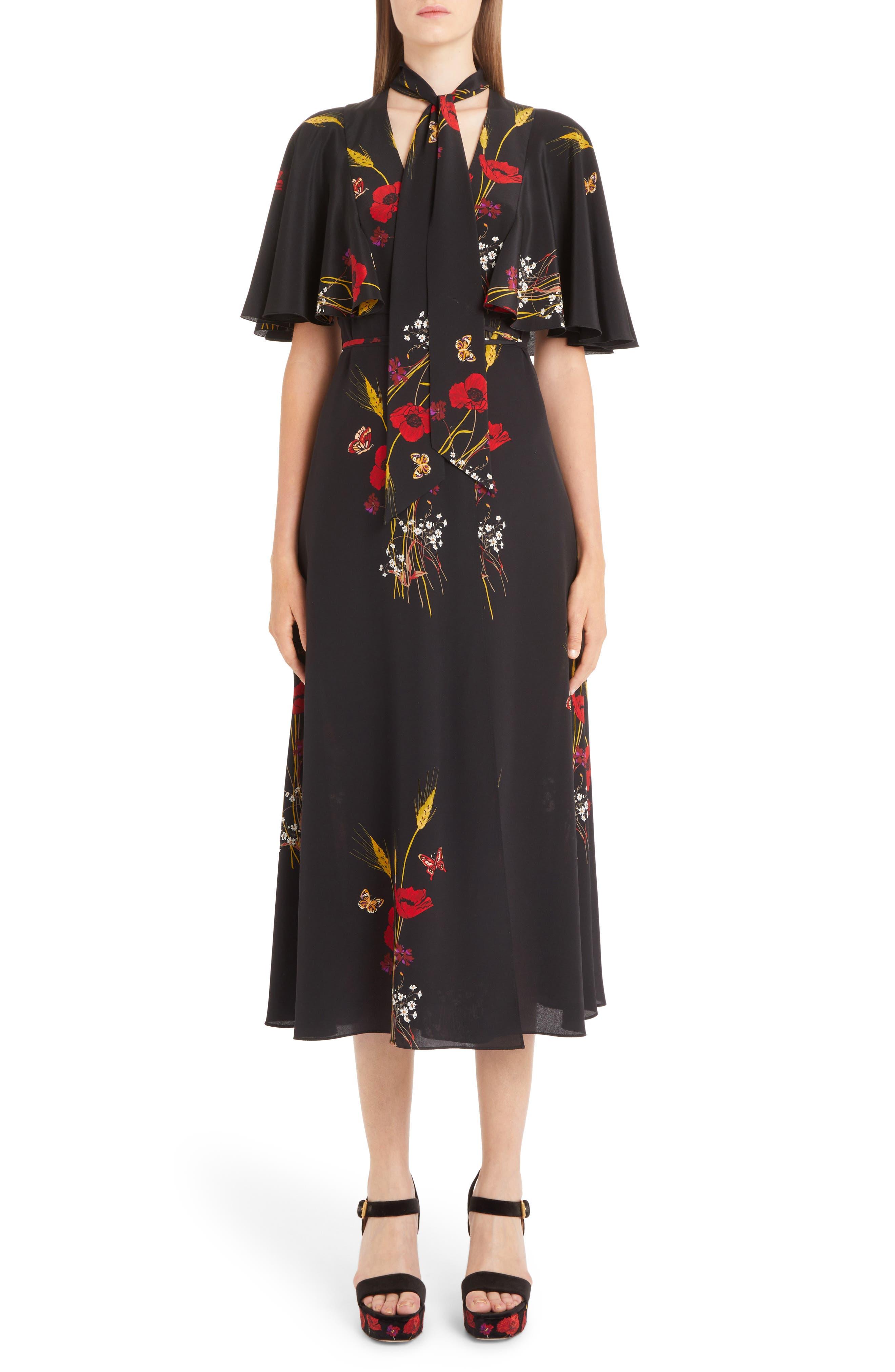 Floral Meadow Print Crêpe de Chine Faux Wrap Dress,                             Main thumbnail 1, color,                             BLACK/ MULTI COLOR