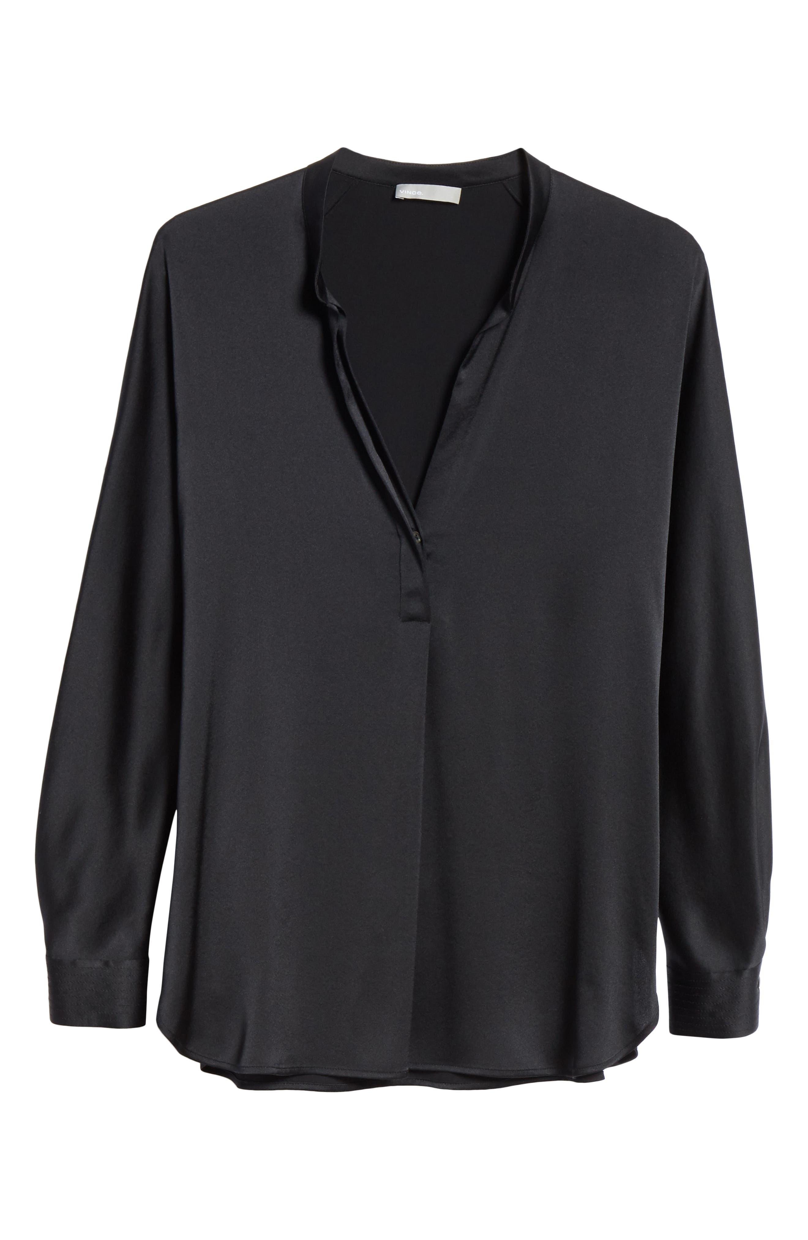 Band Collar Silk Blouse,                             Alternate thumbnail 6, color,                             BLACK