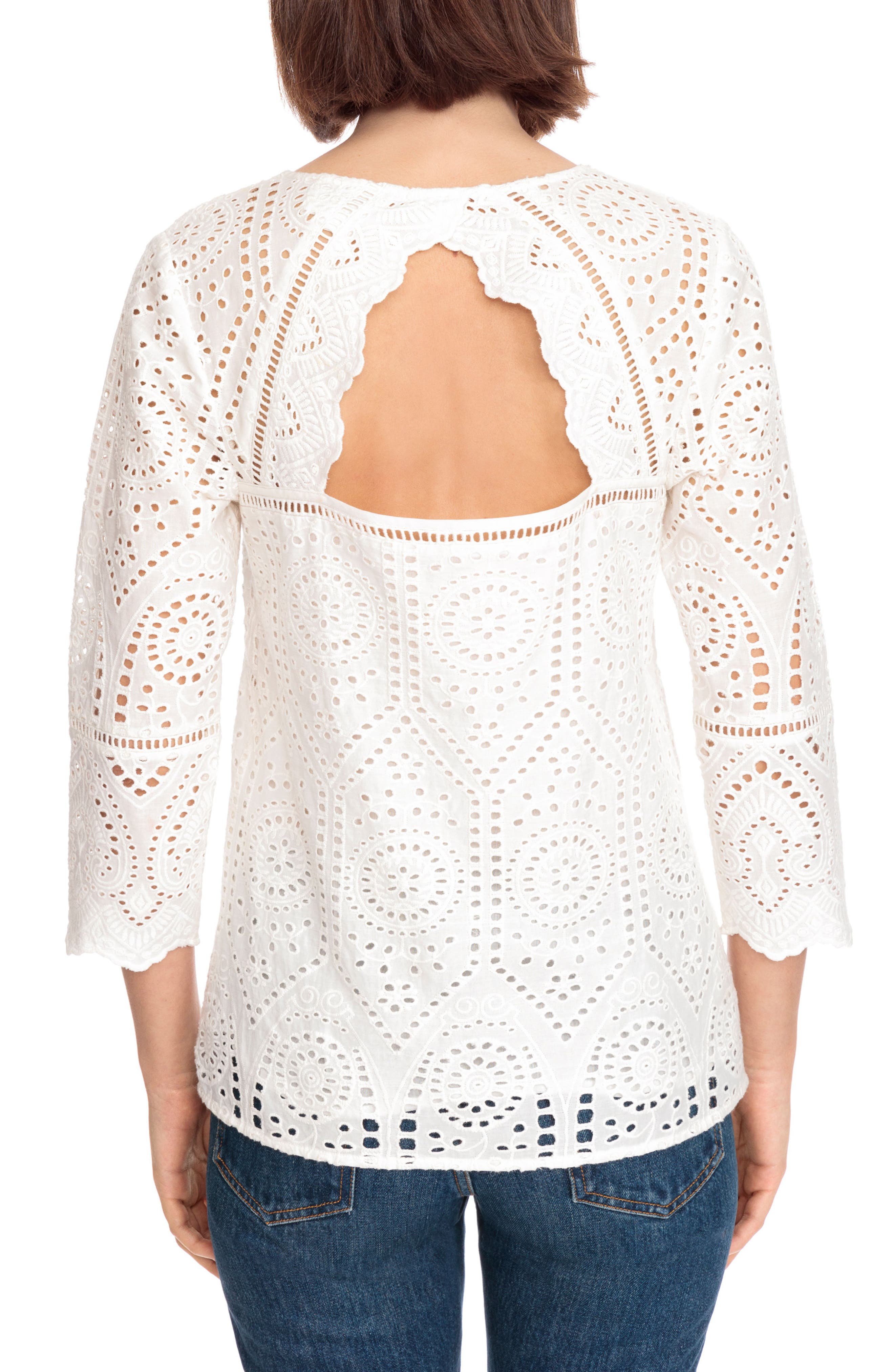 Andrea Cutwork Blouse,                             Alternate thumbnail 2, color,                             100