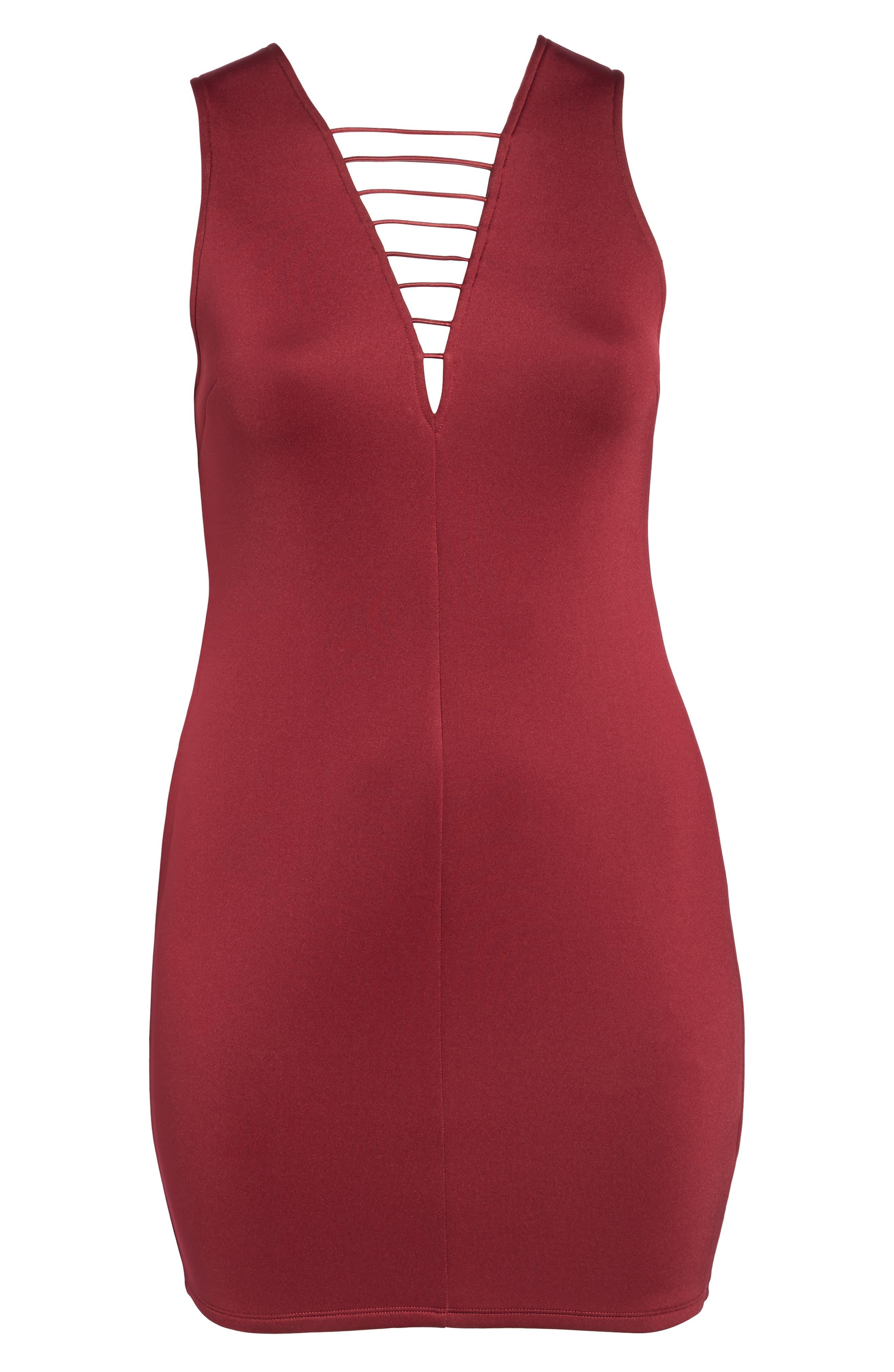 Strappy Double V Body-Con Dress,                             Alternate thumbnail 6, color,                             200