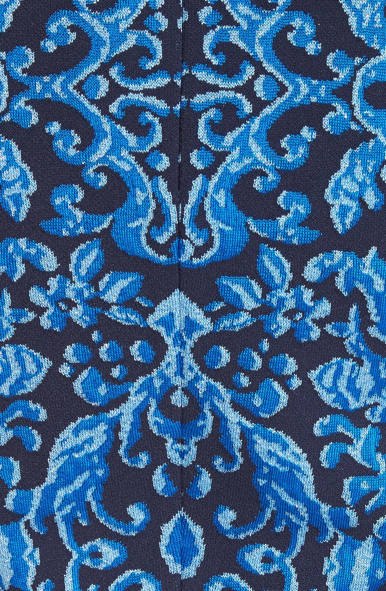 Cool Tones Brocade Knit Dress,                             Alternate thumbnail 6, color,                             COBALT MULTI