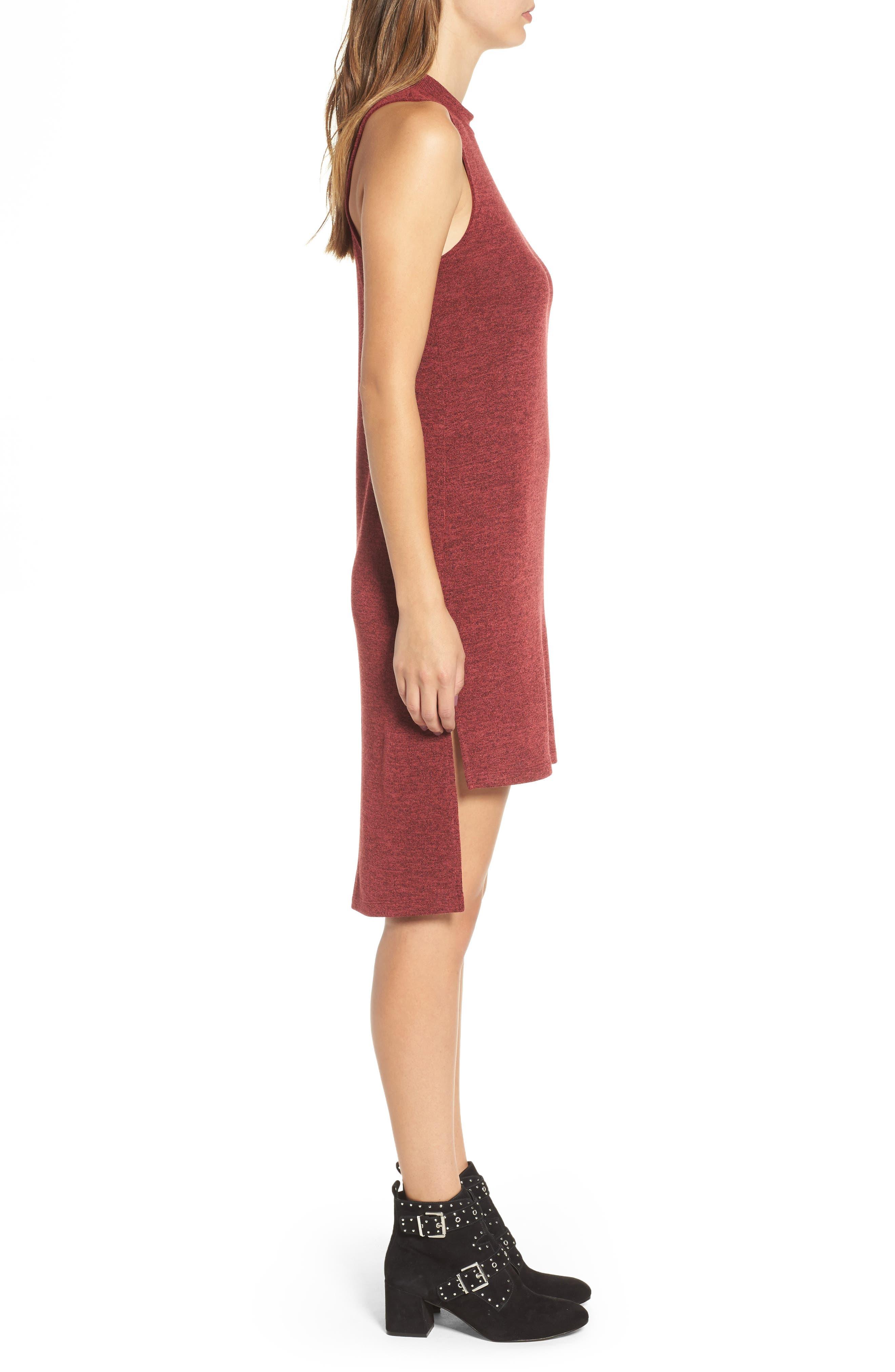 Mock Neck Sleeveless Midi Dress,                             Alternate thumbnail 3, color,                             930