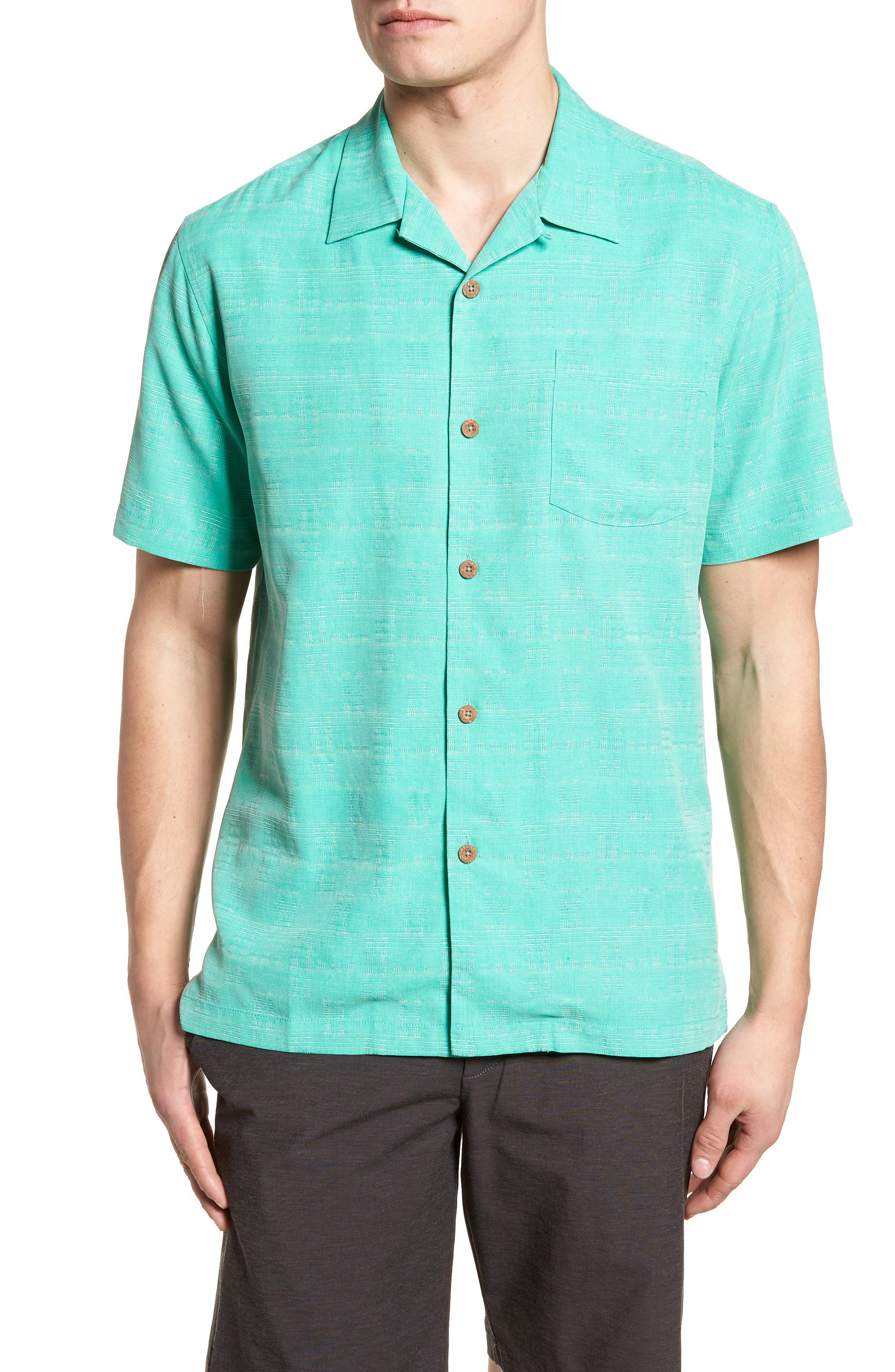 'Geo-Rific Jacquard' Original Fit Silk Camp Shirt,                         Main,                         color,