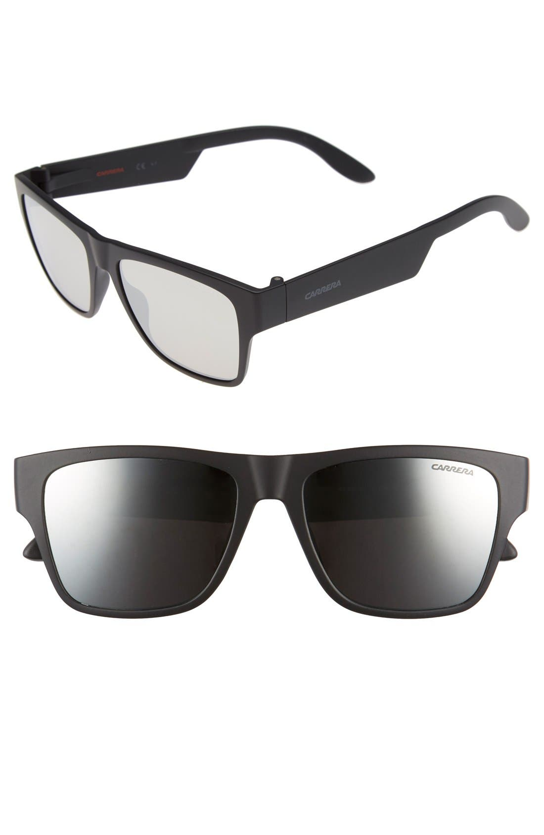 55mm Retro Sunglasses,                             Main thumbnail 1, color,                             MATTE BLACK/ BLACK