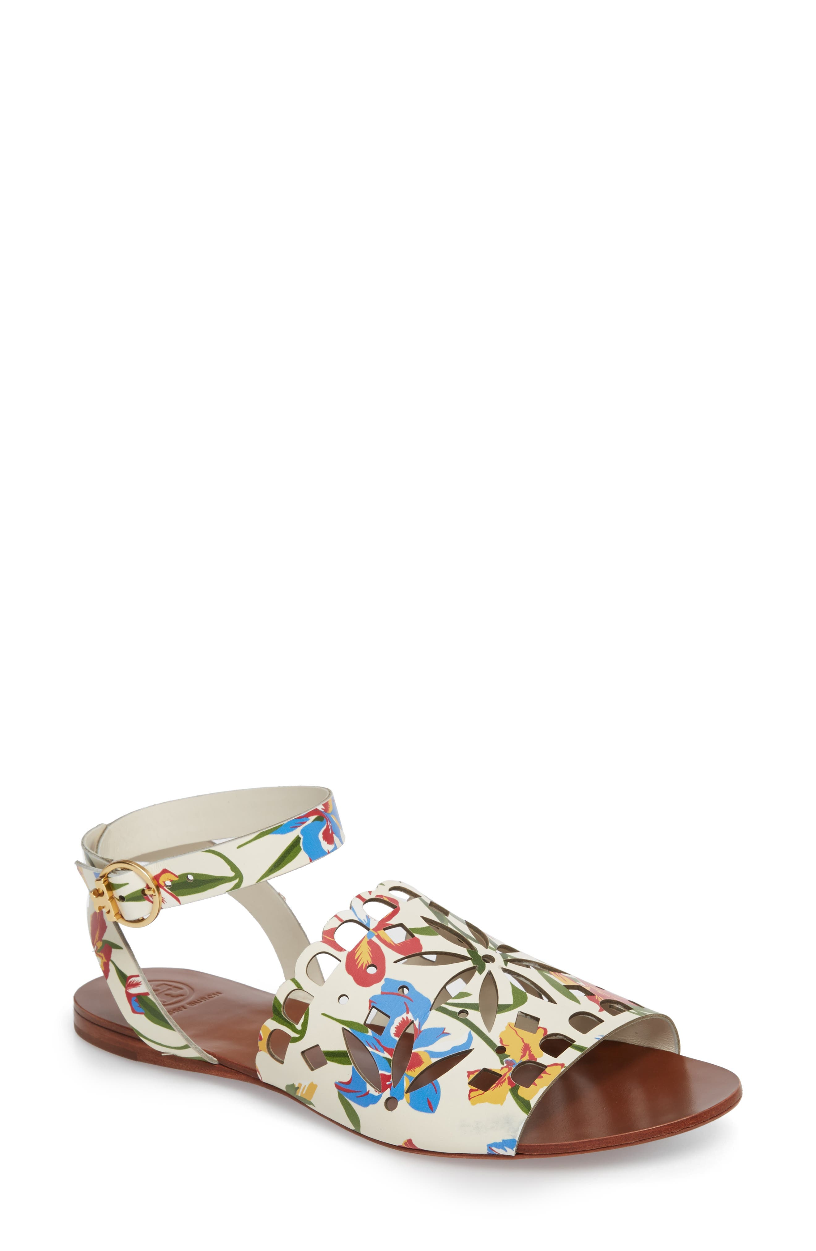 May Printed Floral Ankle Strap Sandal,                         Main,                         color, 100