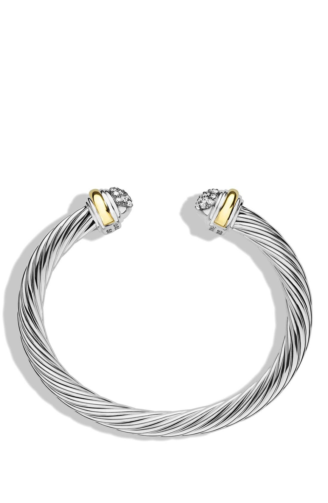 Cable Classics Bracelet with Diamonds and 18K Gold, 7mm,                             Alternate thumbnail 2, color,                             DIAMOND
