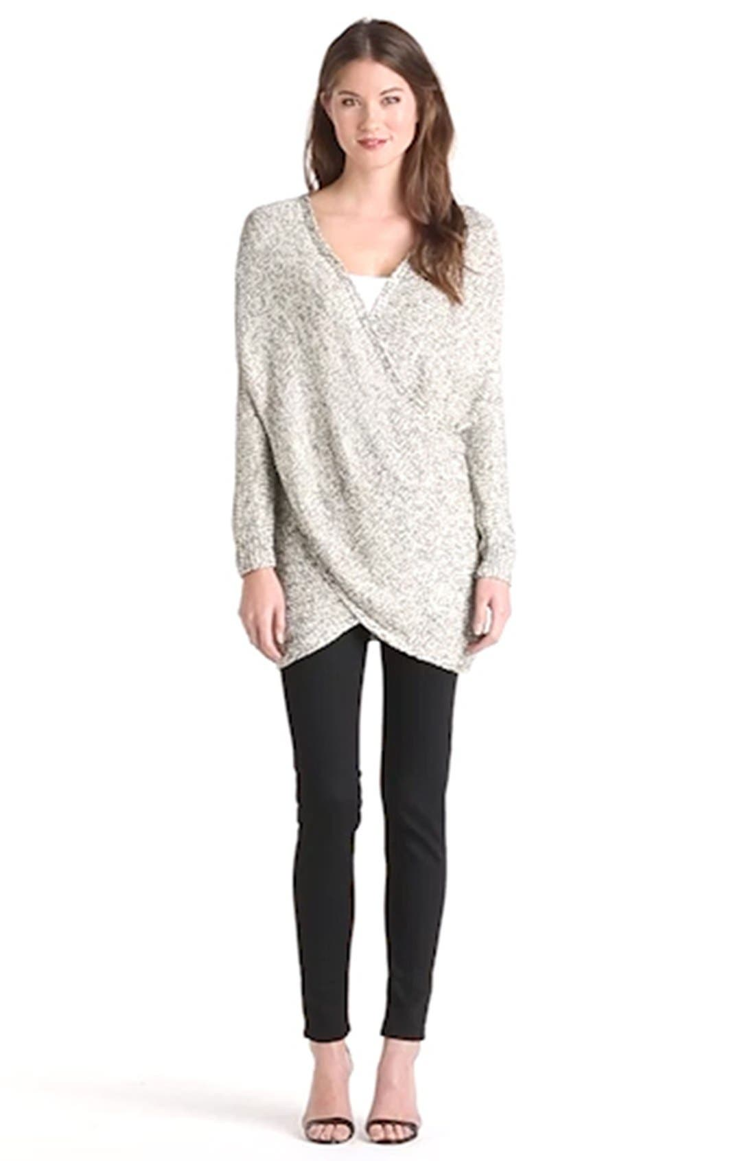 Wrap Front Sweater,                             Alternate thumbnail 4, color,                             100
