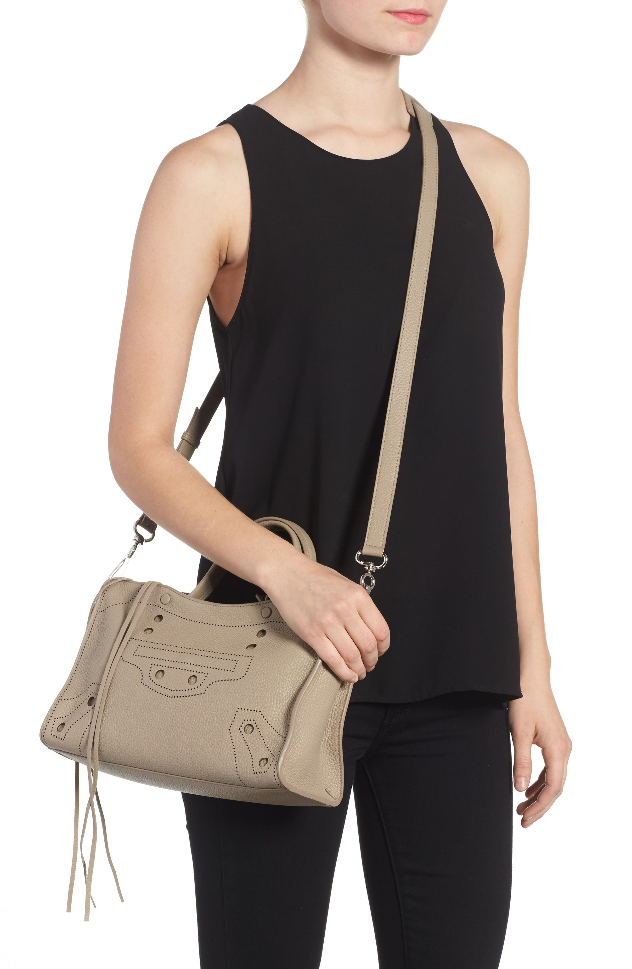 Small Blackout City Leather Tote,                             Alternate thumbnail 2, color,                             035