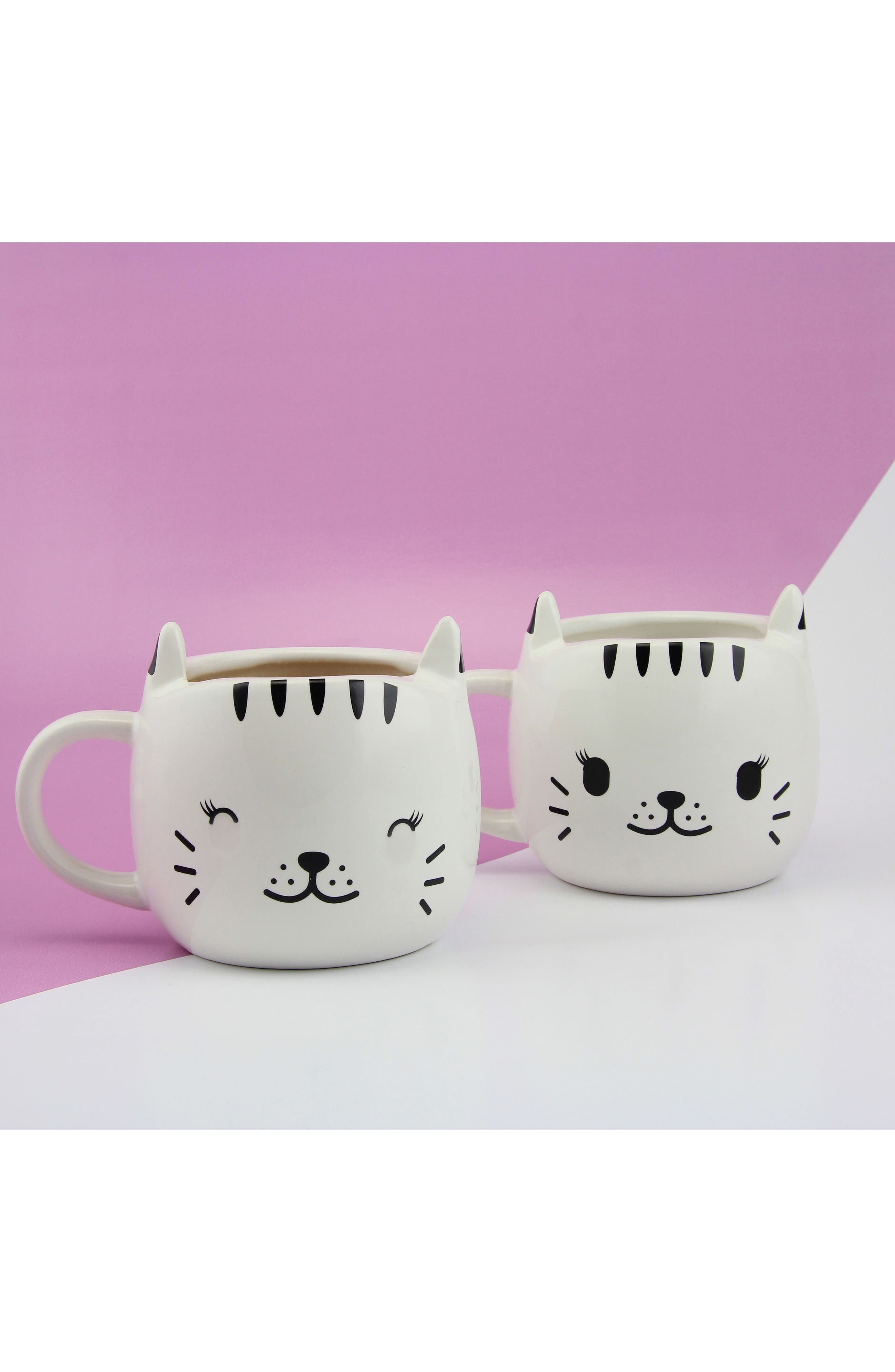 Happy Cat Heat Change Mug,                             Alternate thumbnail 2, color,                             WHITE