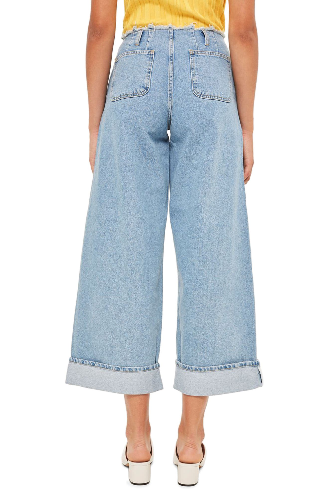 Frayed Waist Super Wide Leg Jeans,                             Alternate thumbnail 2, color,                             400