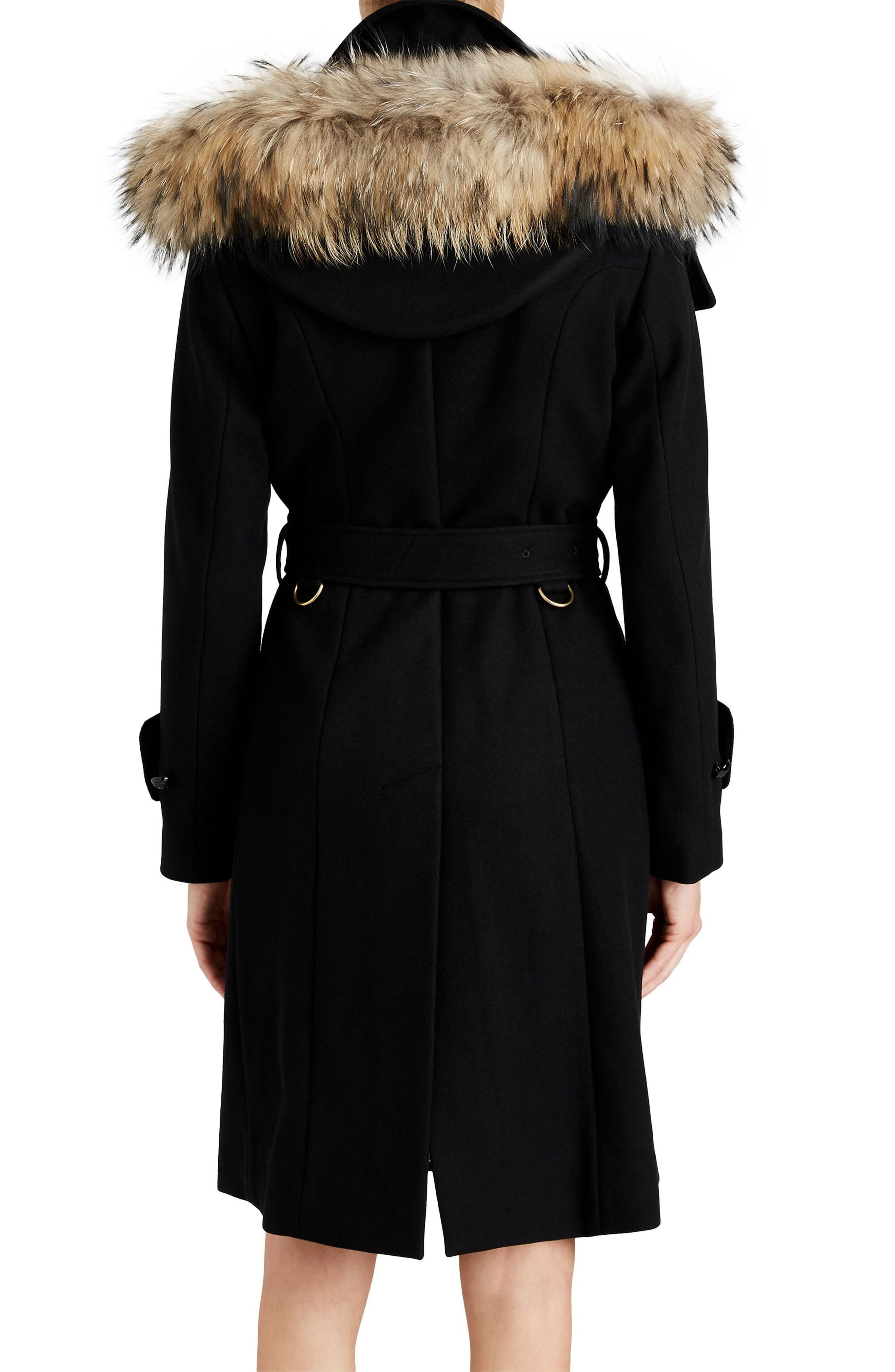 Claybrooke Wool Blend Coat with Removable Genuine Fox Fur Trim,                             Alternate thumbnail 3, color,                             001