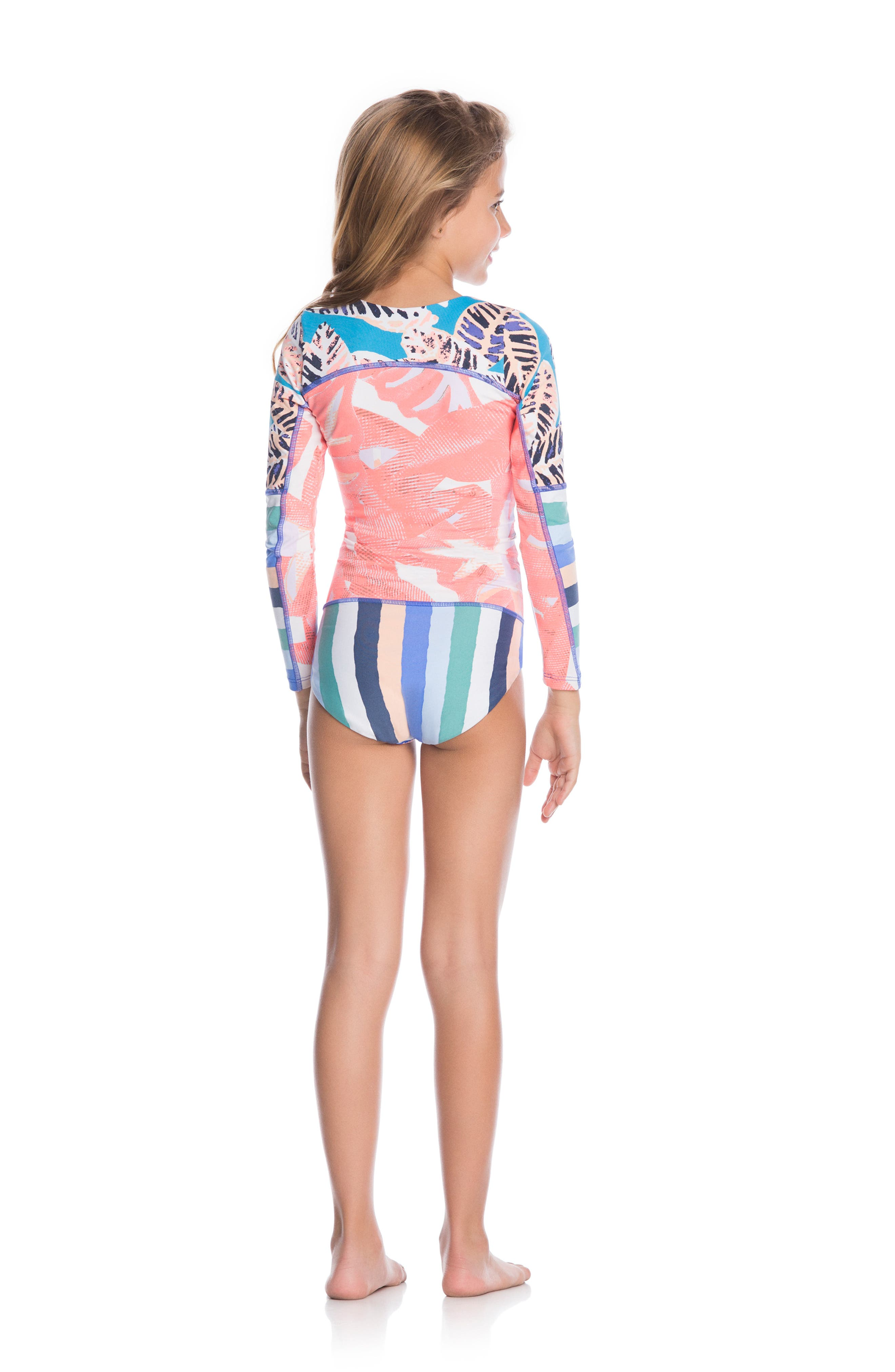 Ocean Joiness Reversible One-Piece Rashguard Swimsuit,                             Alternate thumbnail 4, color,                             MULTICOLOR