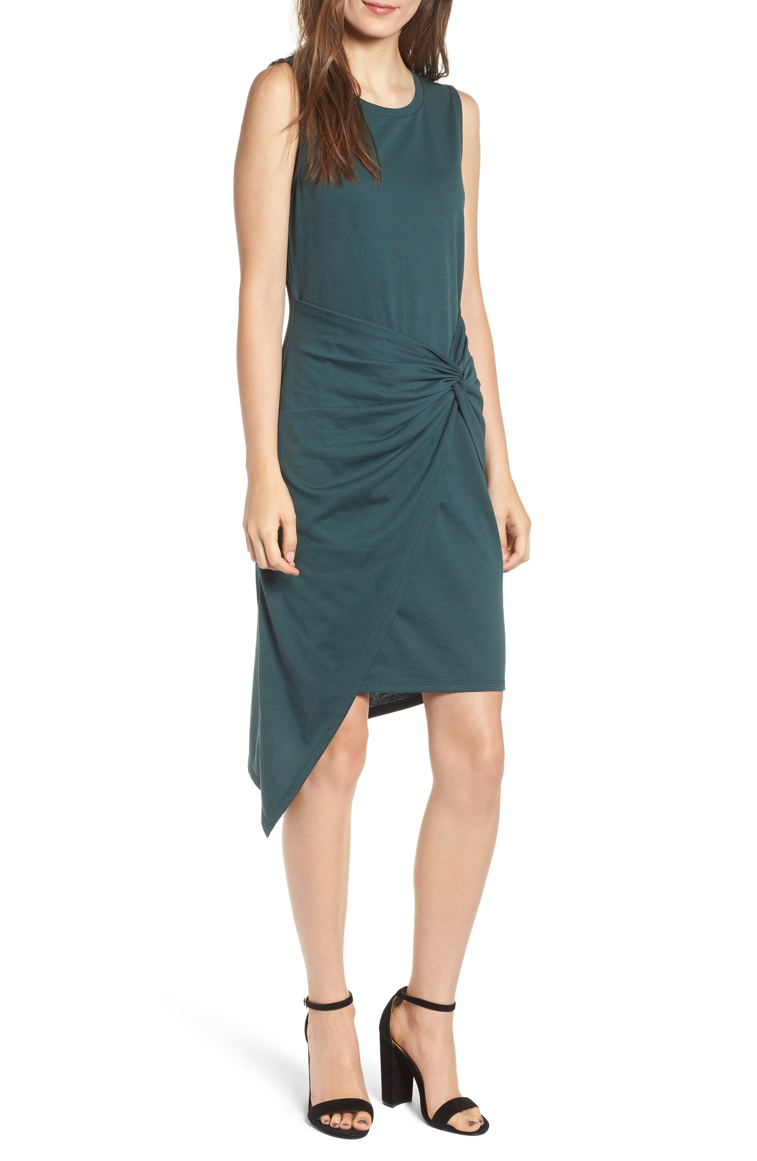 Twist Front Dress,                             Main thumbnail 1, color,                             GREEN GABLES