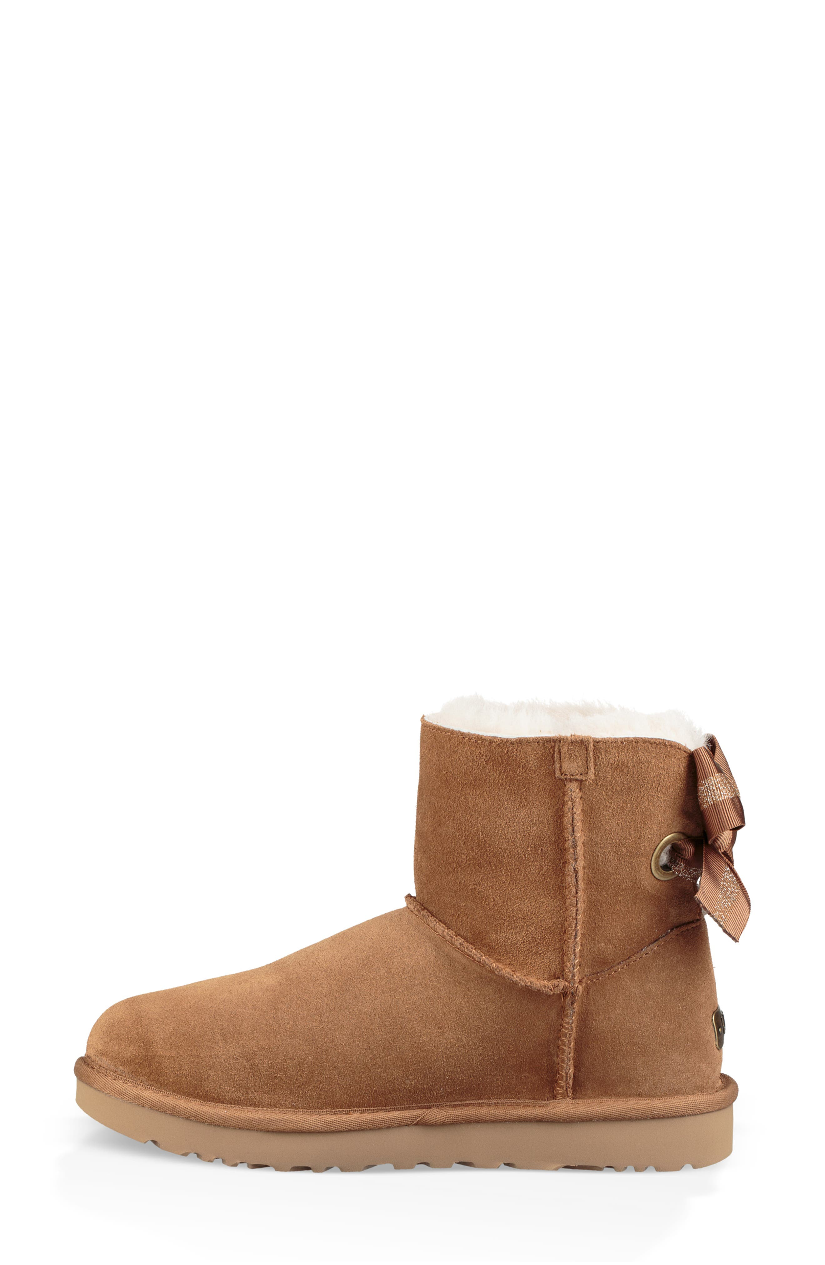 Customizable Bailey Bow Mini Genuine Shearling Bootie,                             Alternate thumbnail 7, color,                             CHESTNUT SUEDE