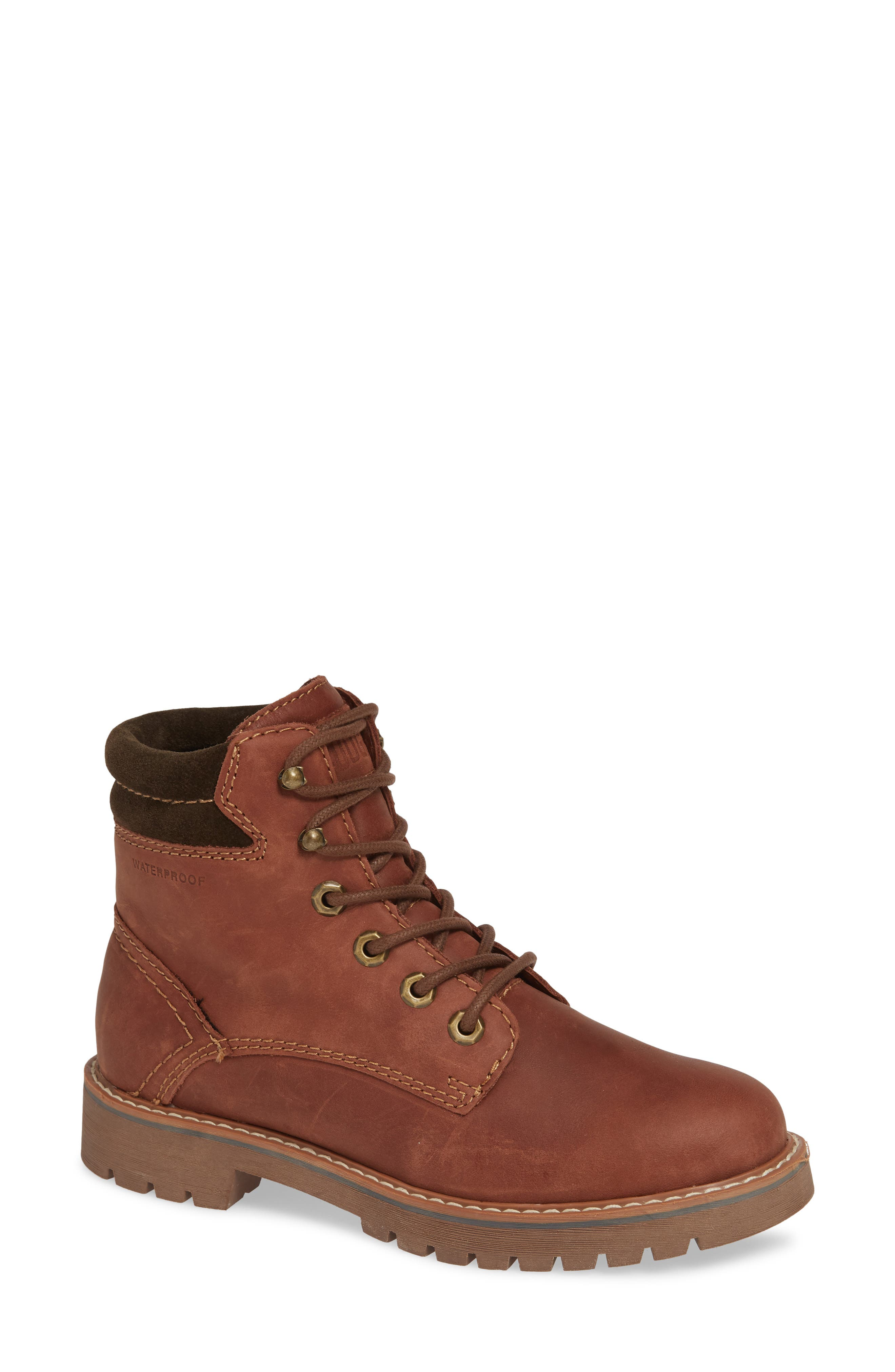 Heston Waterproof Insulated Hiking Boot,                             Main thumbnail 1, color,                             BROWN LEATHER