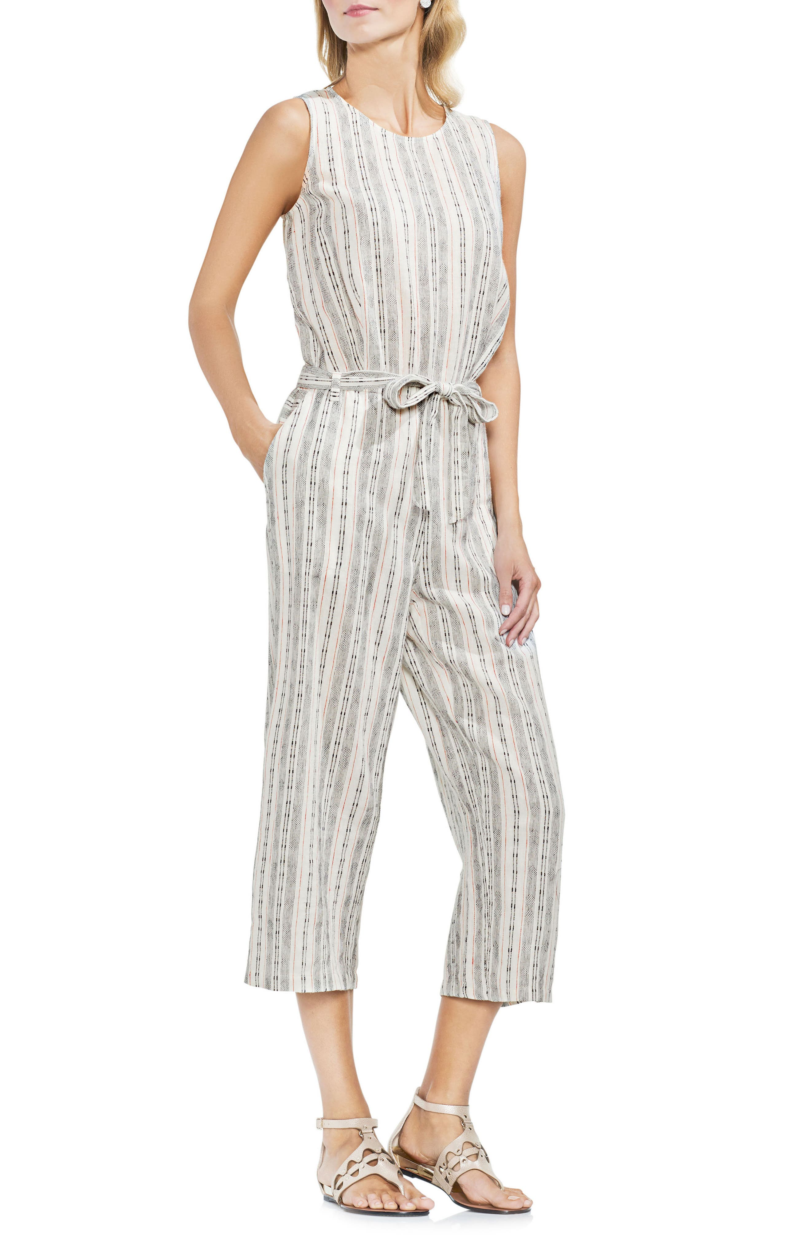 Stripe Linen Blend Romper,                         Main,                         color,