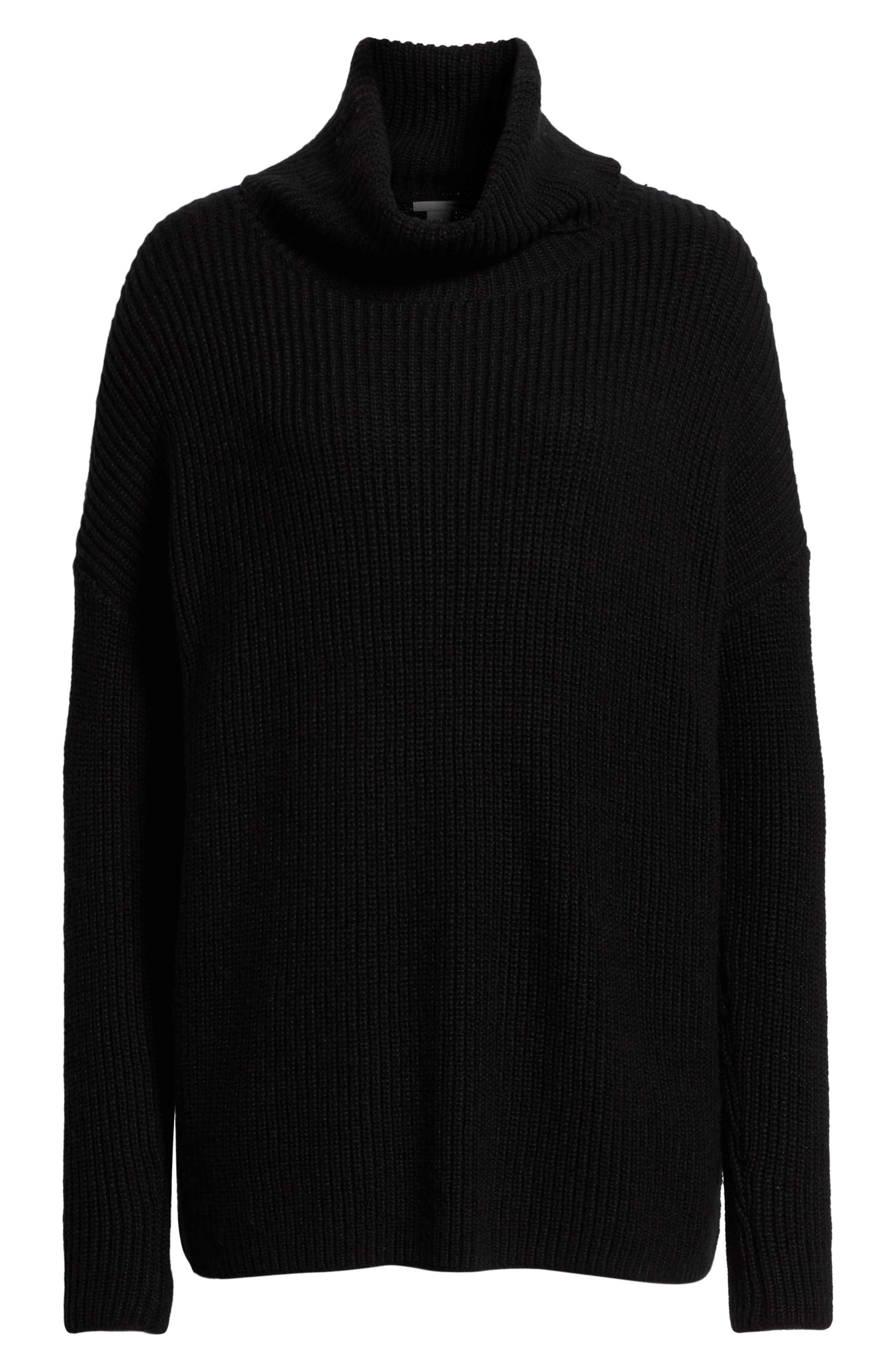 Oversized Turtleneck Tunic Sweater,                             Alternate thumbnail 6, color,                             001