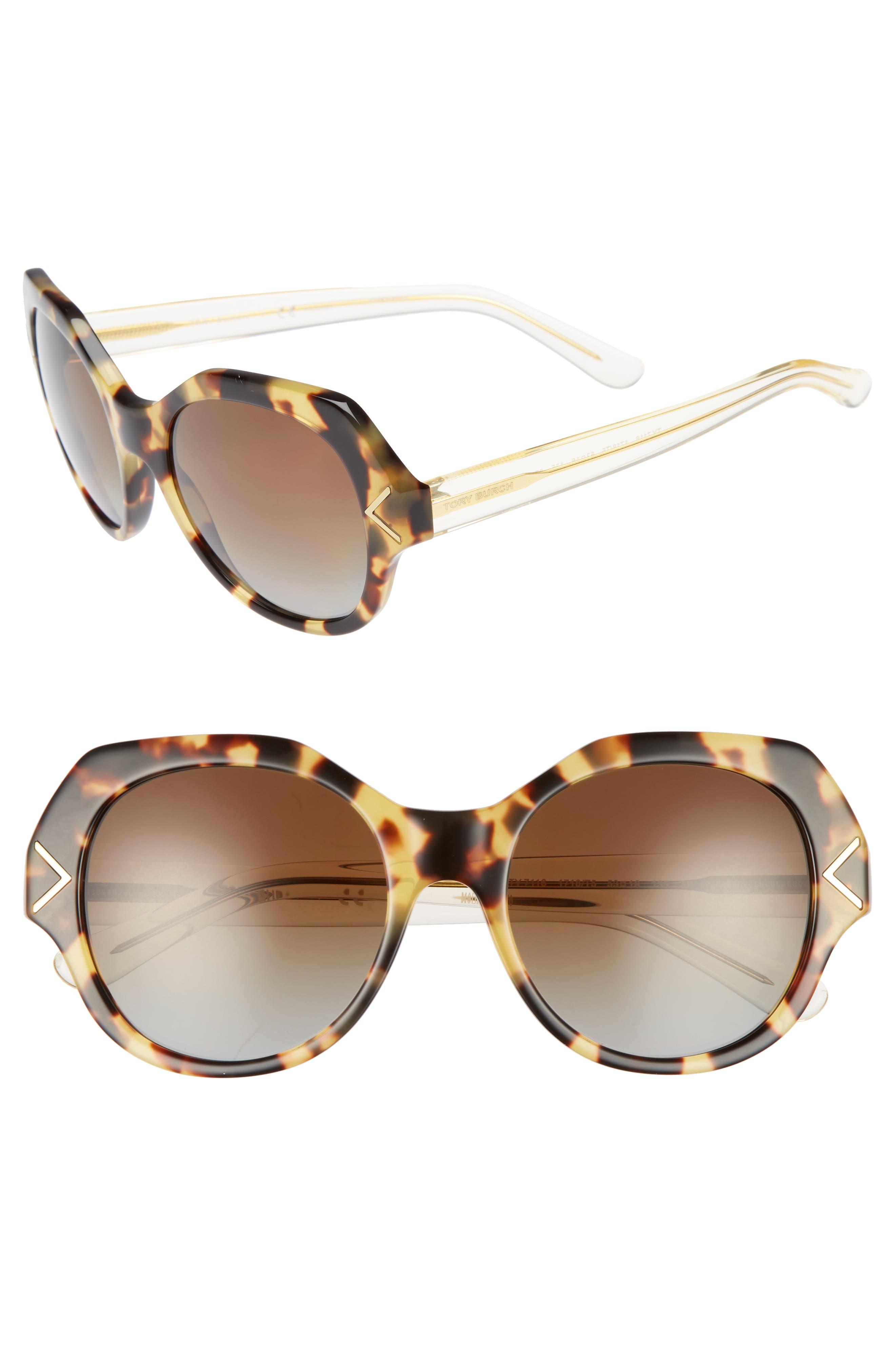 53mm Polarized Gradient Geometric Sunglasses,                             Main thumbnail 2, color,