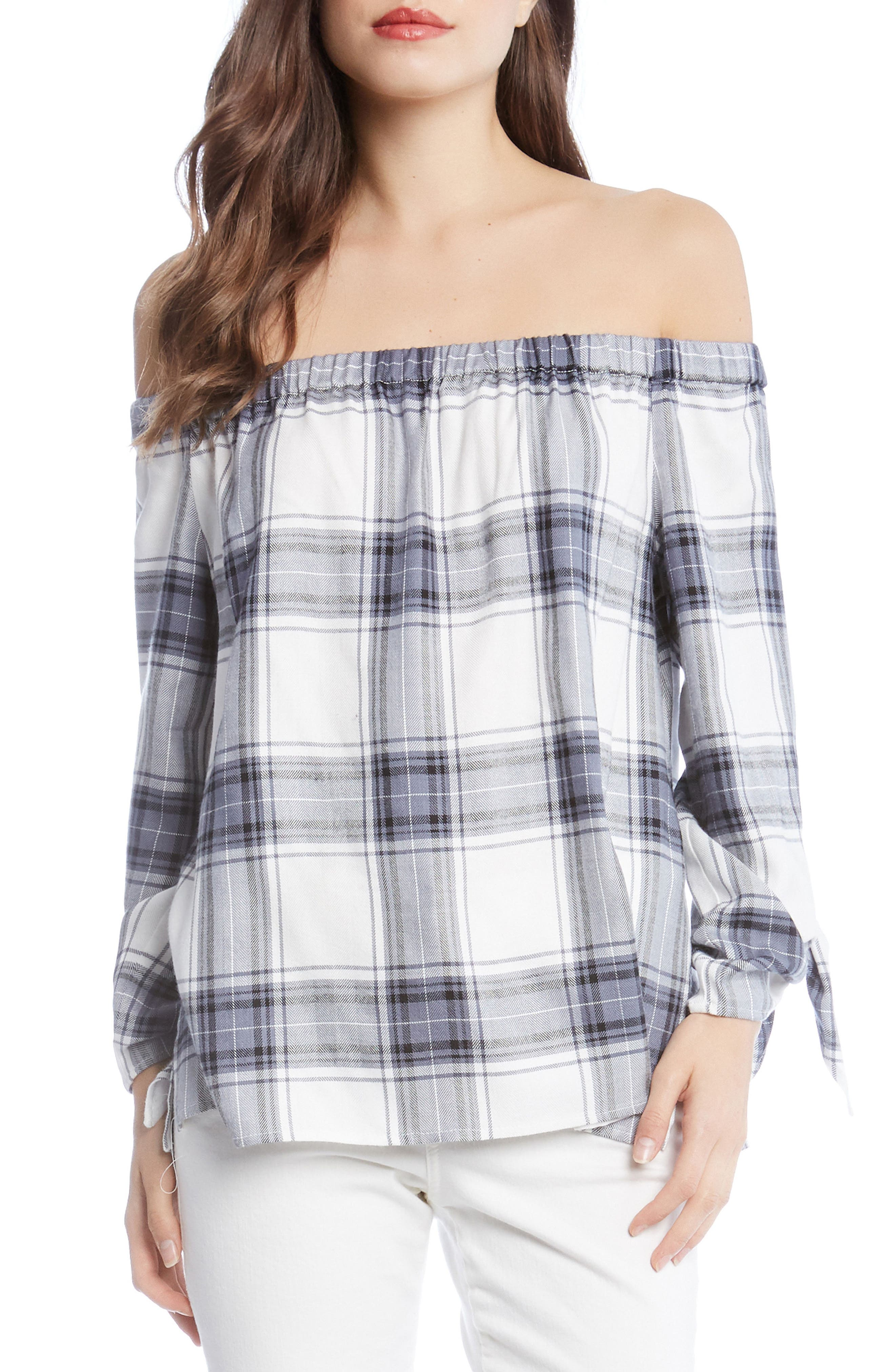 Off the Shoulder Plaid Top,                         Main,                         color, 100
