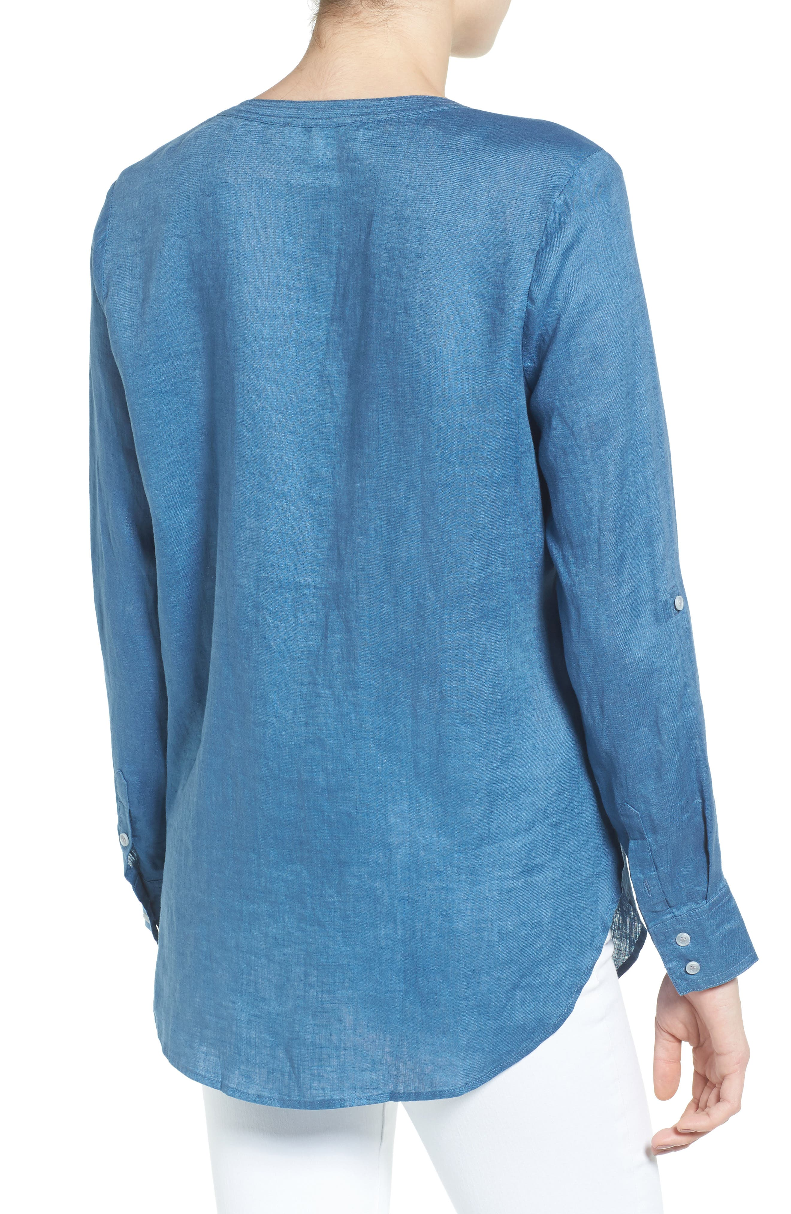 Two by Vince Camuto Collarless Linen Shirt,                             Alternate thumbnail 9, color,