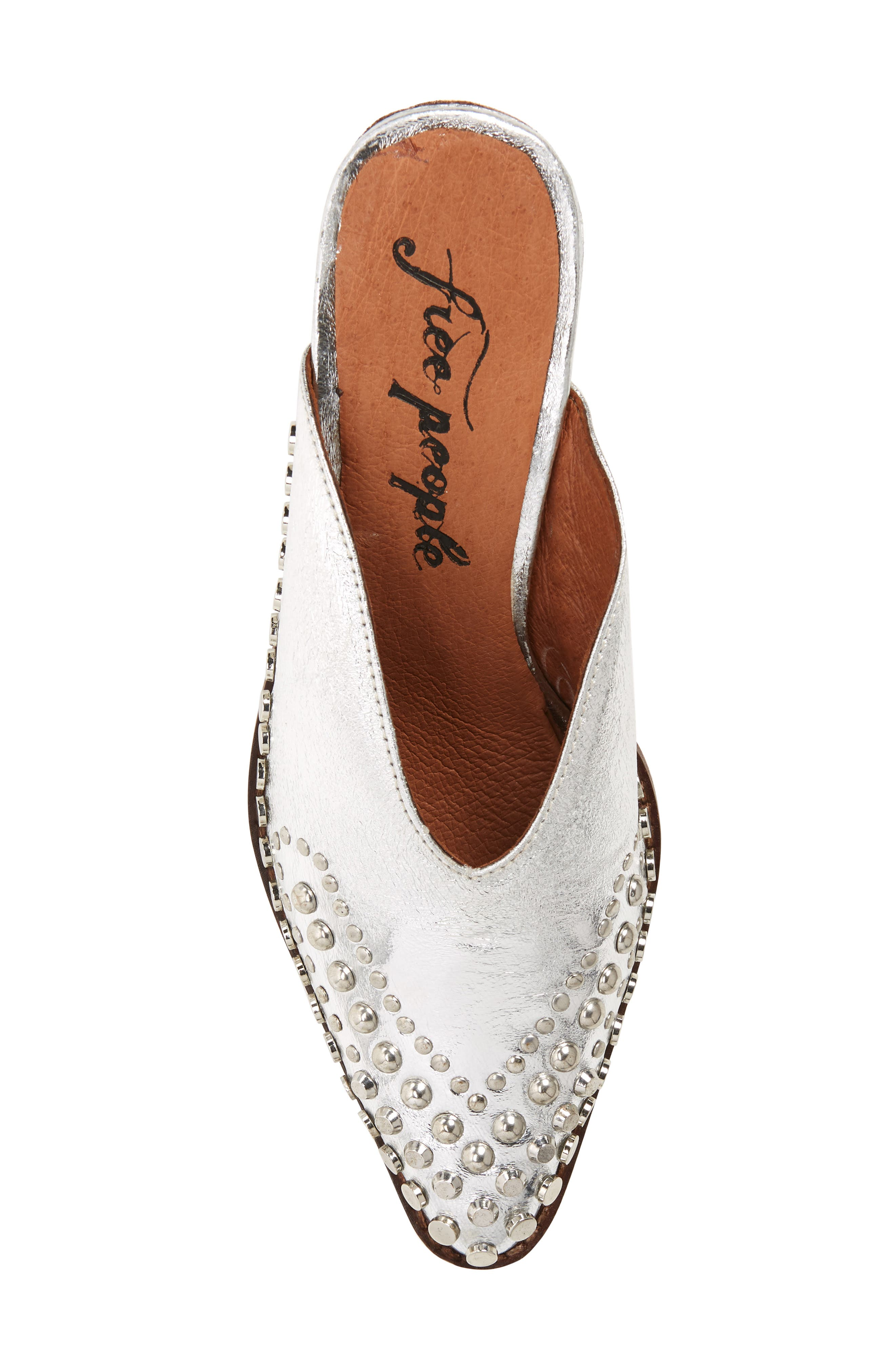 Anya Studded Mule,                             Alternate thumbnail 5, color,                             SILVER LEATHER