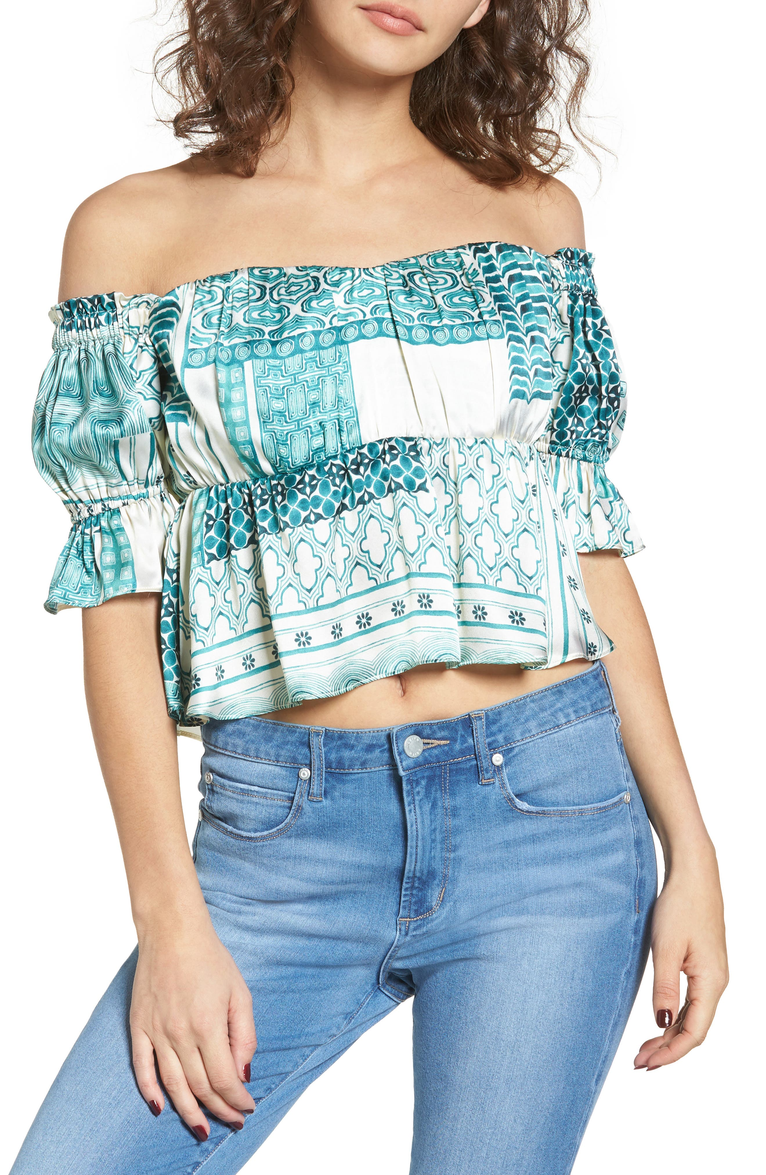 Monte Off the Shoulder Silk Top,                             Main thumbnail 2, color,