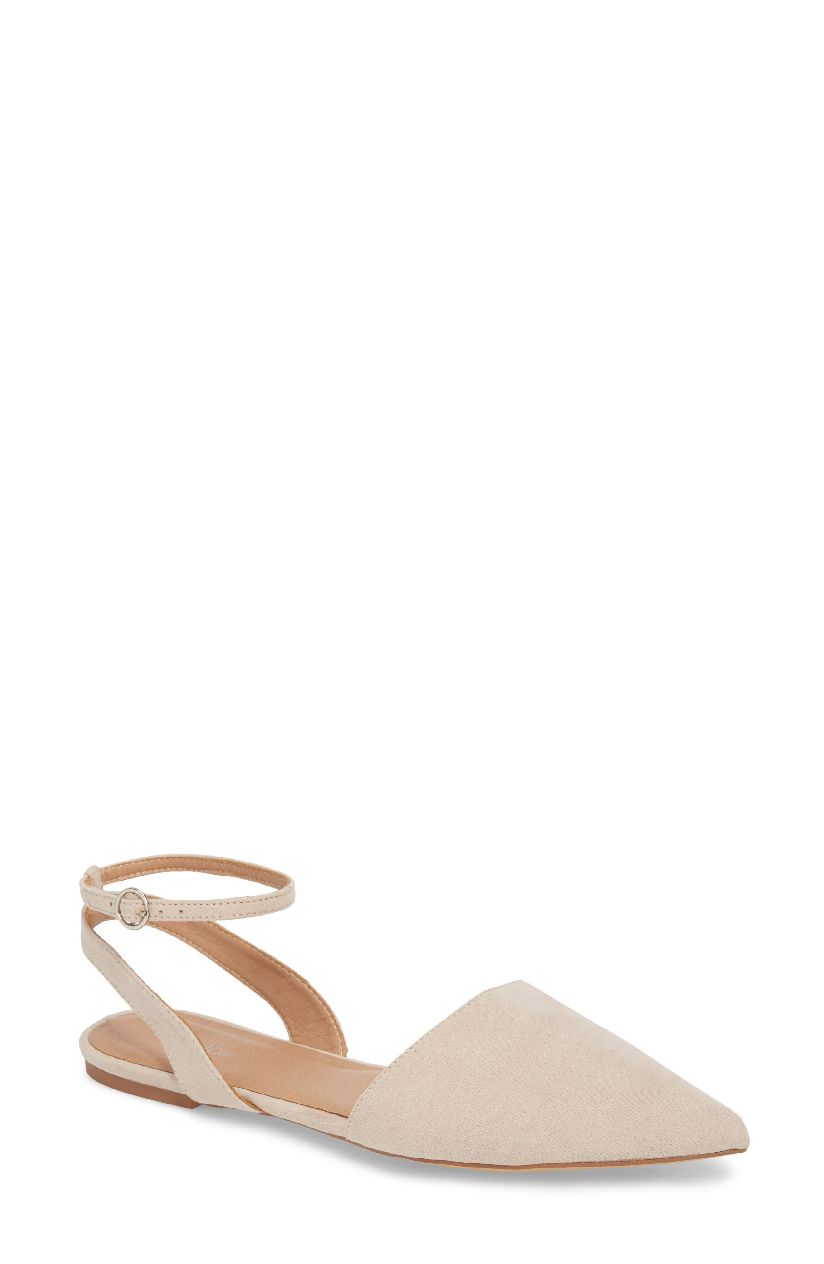 Anne Pointy Toe Flat,                             Main thumbnail 1, color,                             NUDE