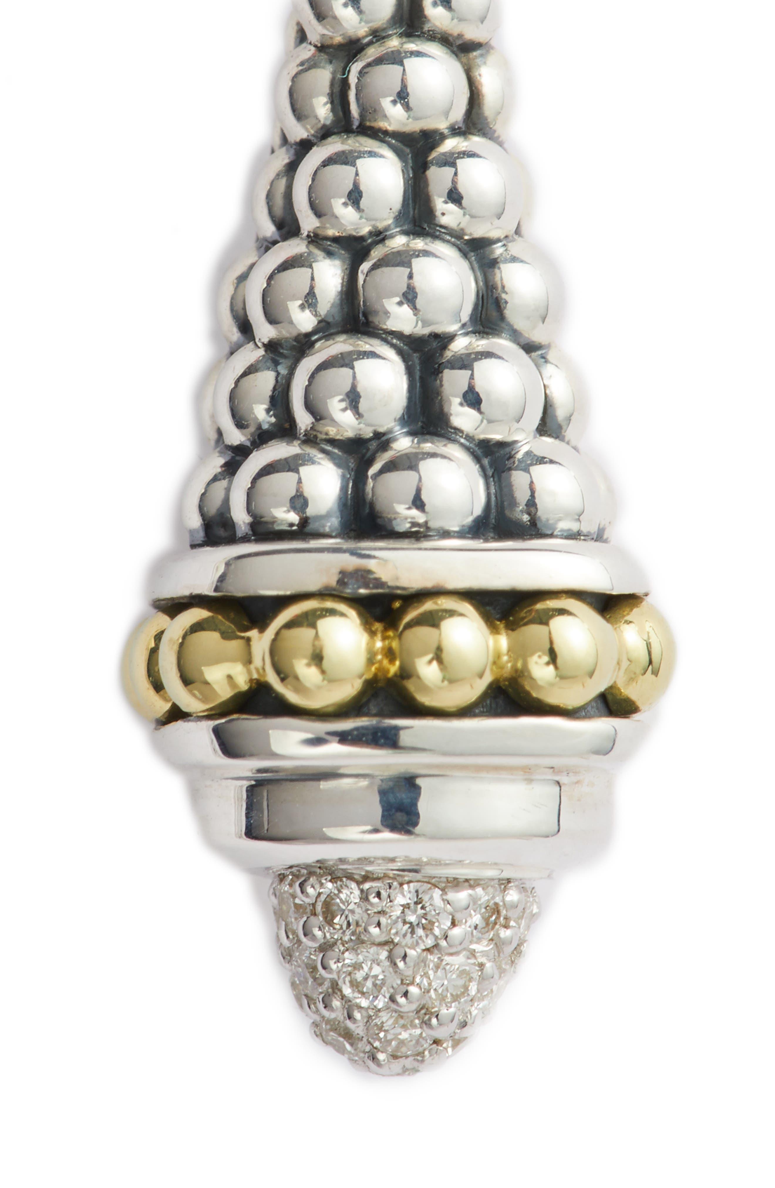 Signature Caviar Diamond Pavé Cap Drop Earrings,                             Alternate thumbnail 6, color,                             SILVER/ DIAMOND