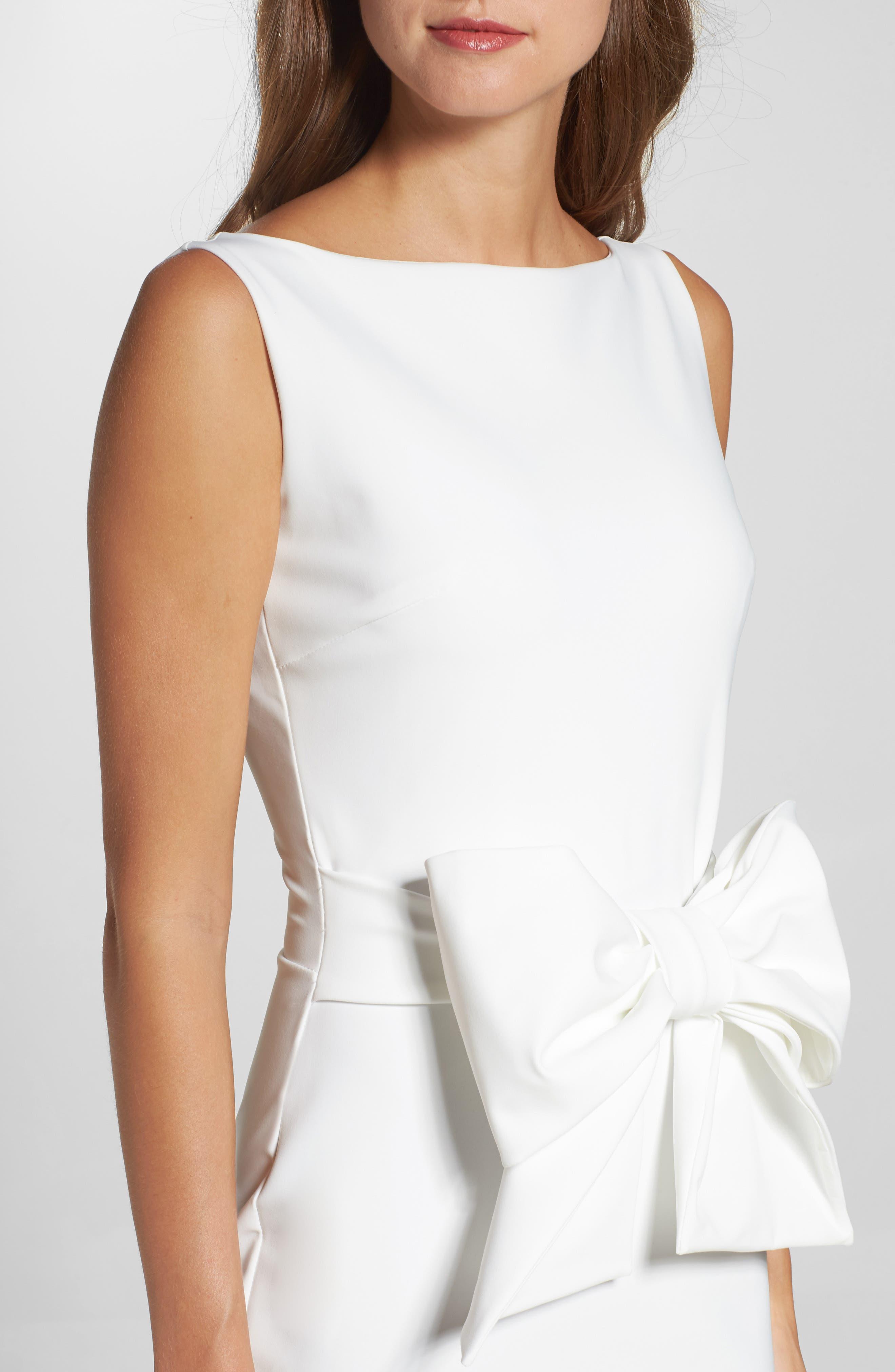 CHIARA BONI LA PETITE ROBE,                             Bow Detail Sleeveless Gown,                             Alternate thumbnail 4, color,                             100