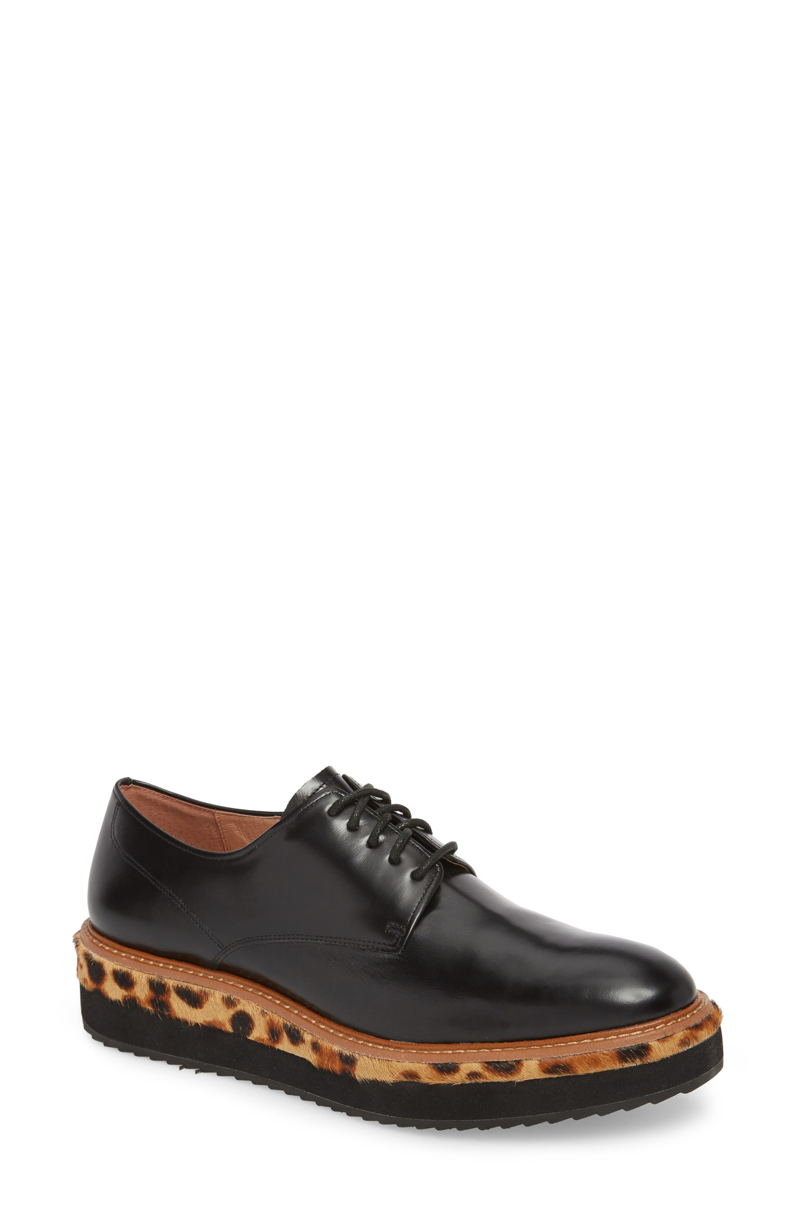 Maddox Oxford,                             Main thumbnail 1, color,                             BLACK BOX LEATHER/ LEOPARD