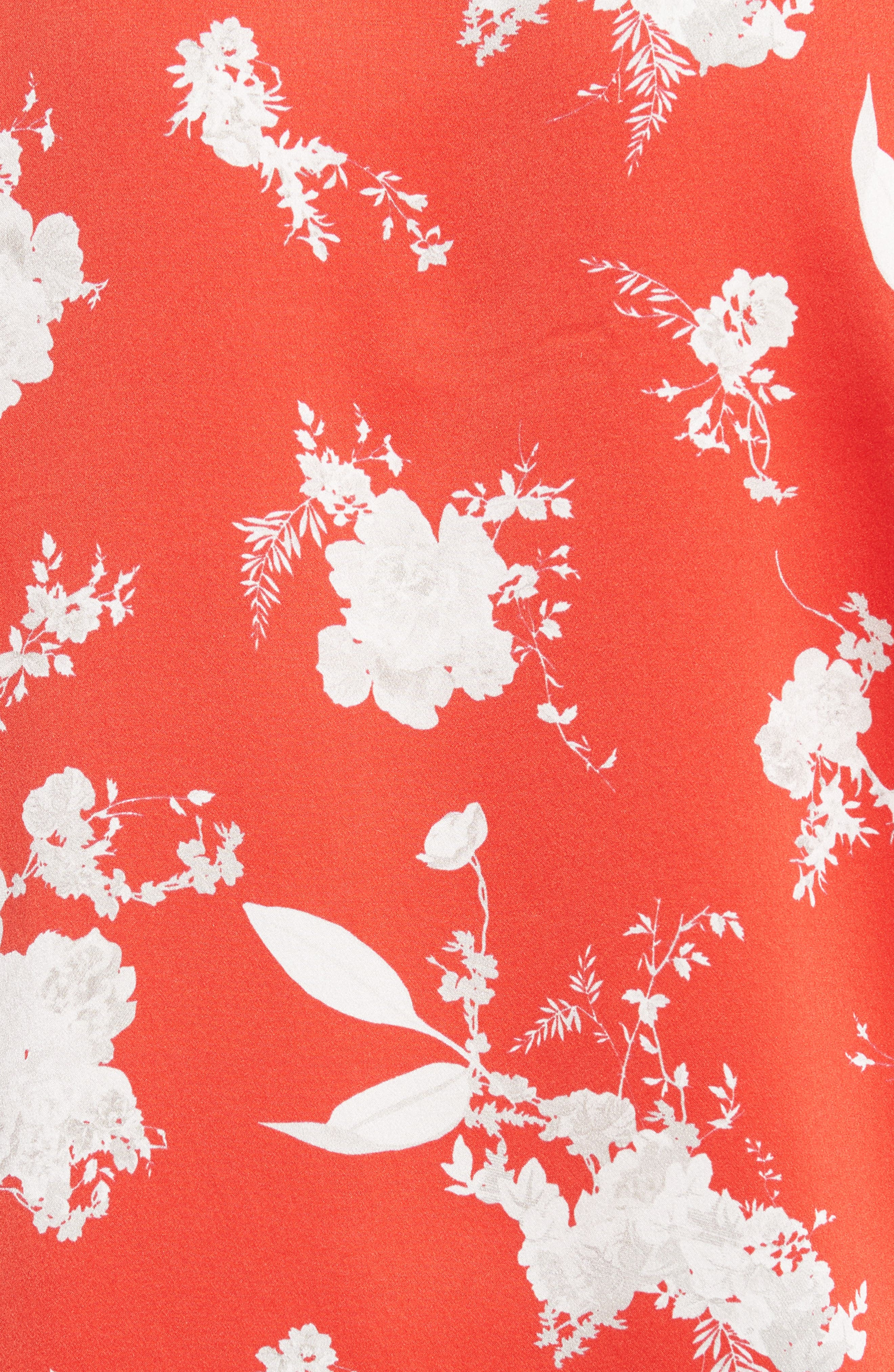 Keir Floral Silk Pajama Shirt,                             Alternate thumbnail 5, color,                             606