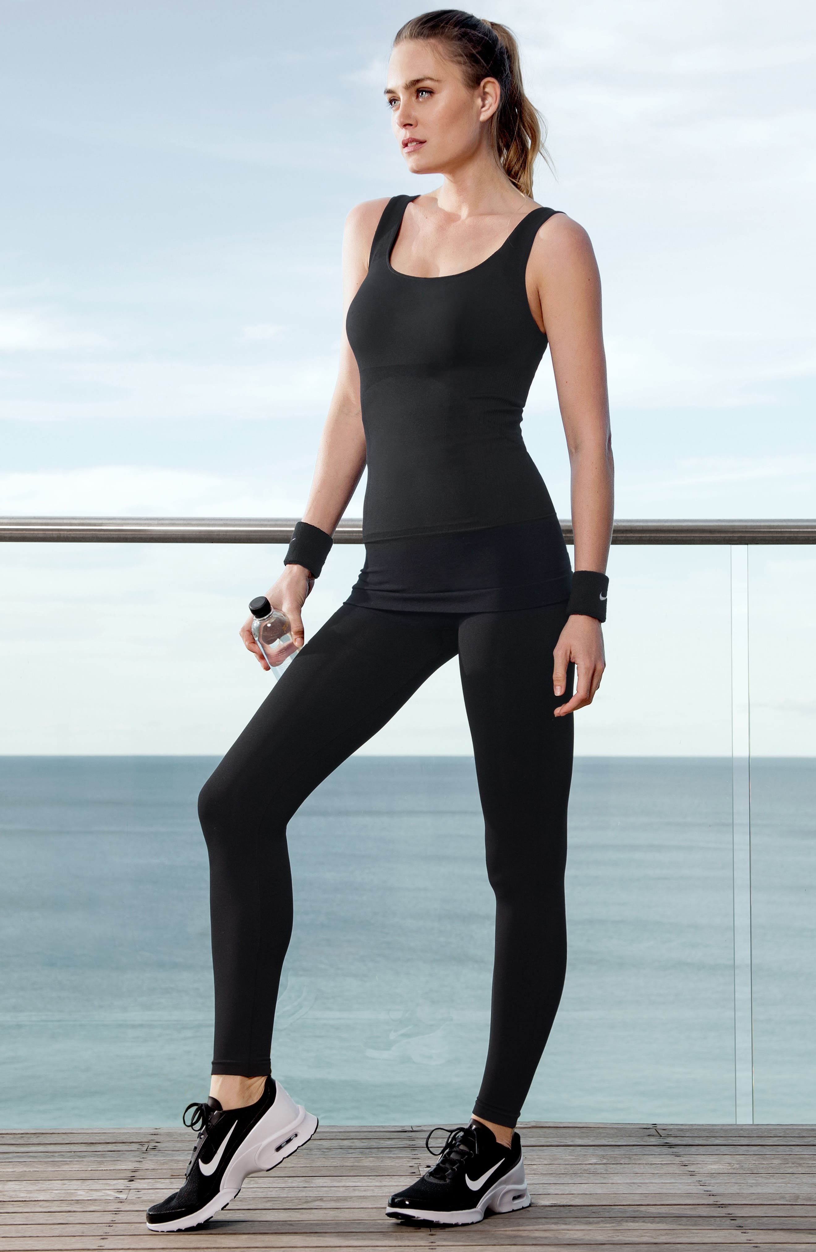 Everyday<sup>™</sup> Pull-Down Postpartum + Nursing Support Tank Top,                             Alternate thumbnail 8, color,                             DEEPEST BLACK