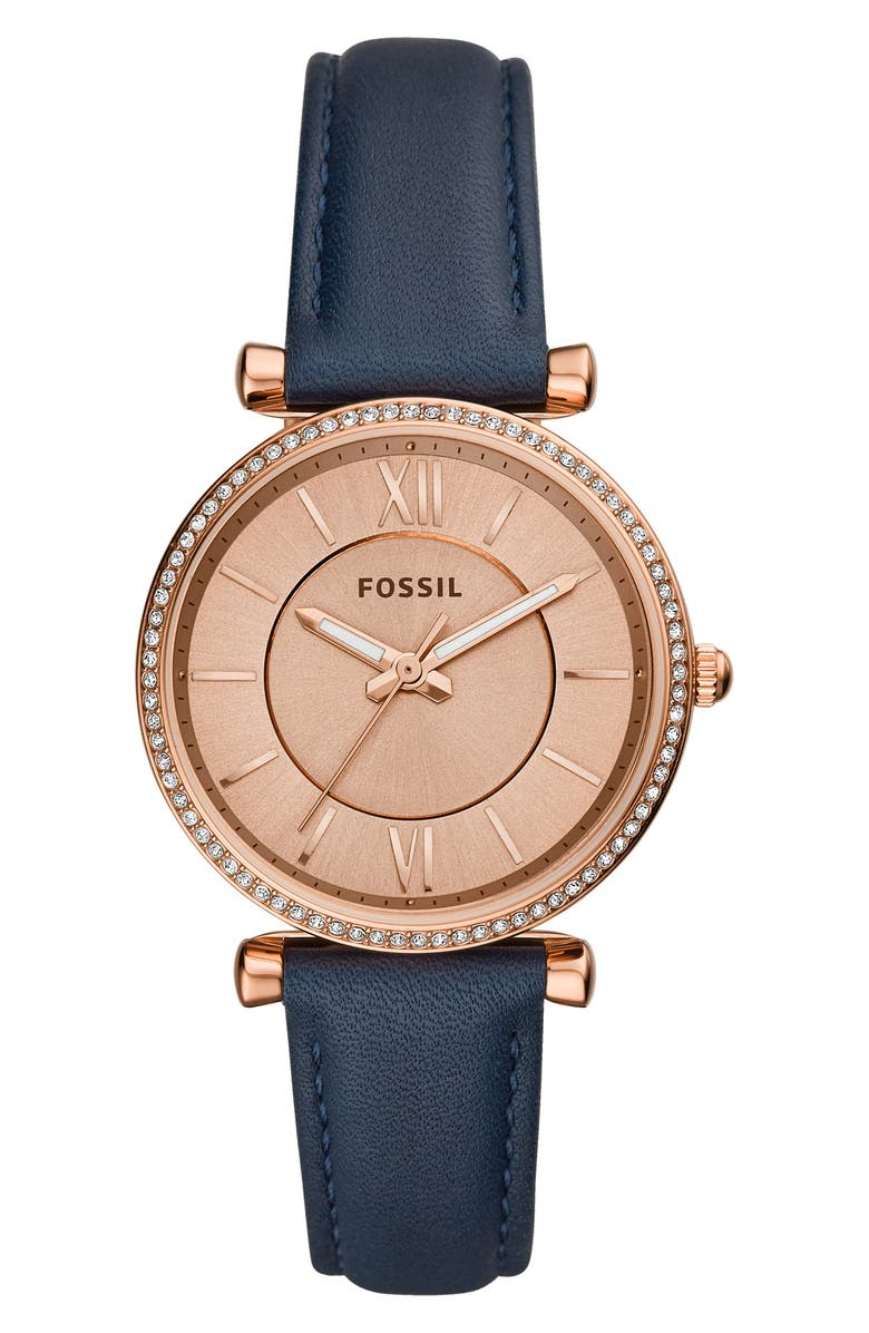 Fossil CARLIE LEATHER STRAP WATCH, 35MM