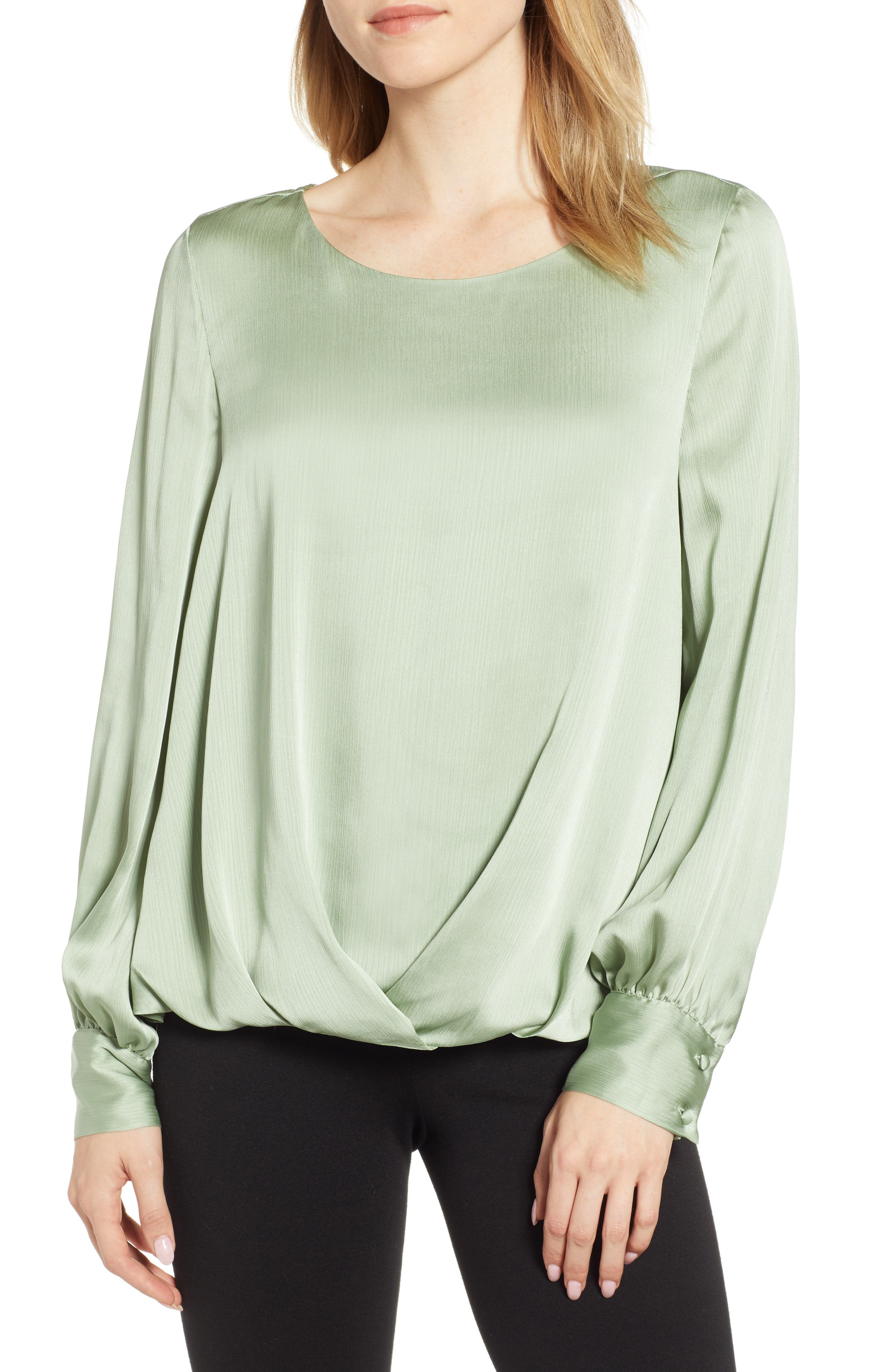 Puff Sleeve Blouse,                         Main,                         color, GREEN TEA