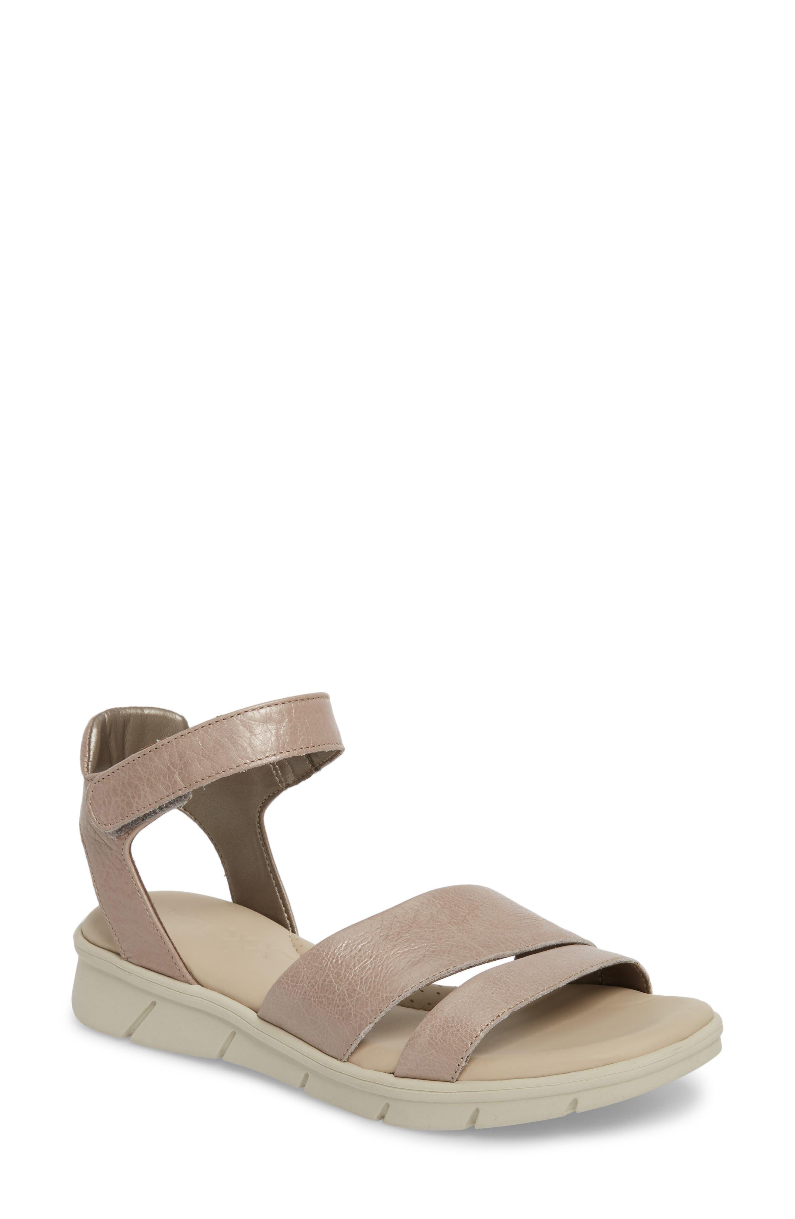 Crossover Ankle Strap Sandal,                         Main,                         color, HAZE CRACKLED LEATHER