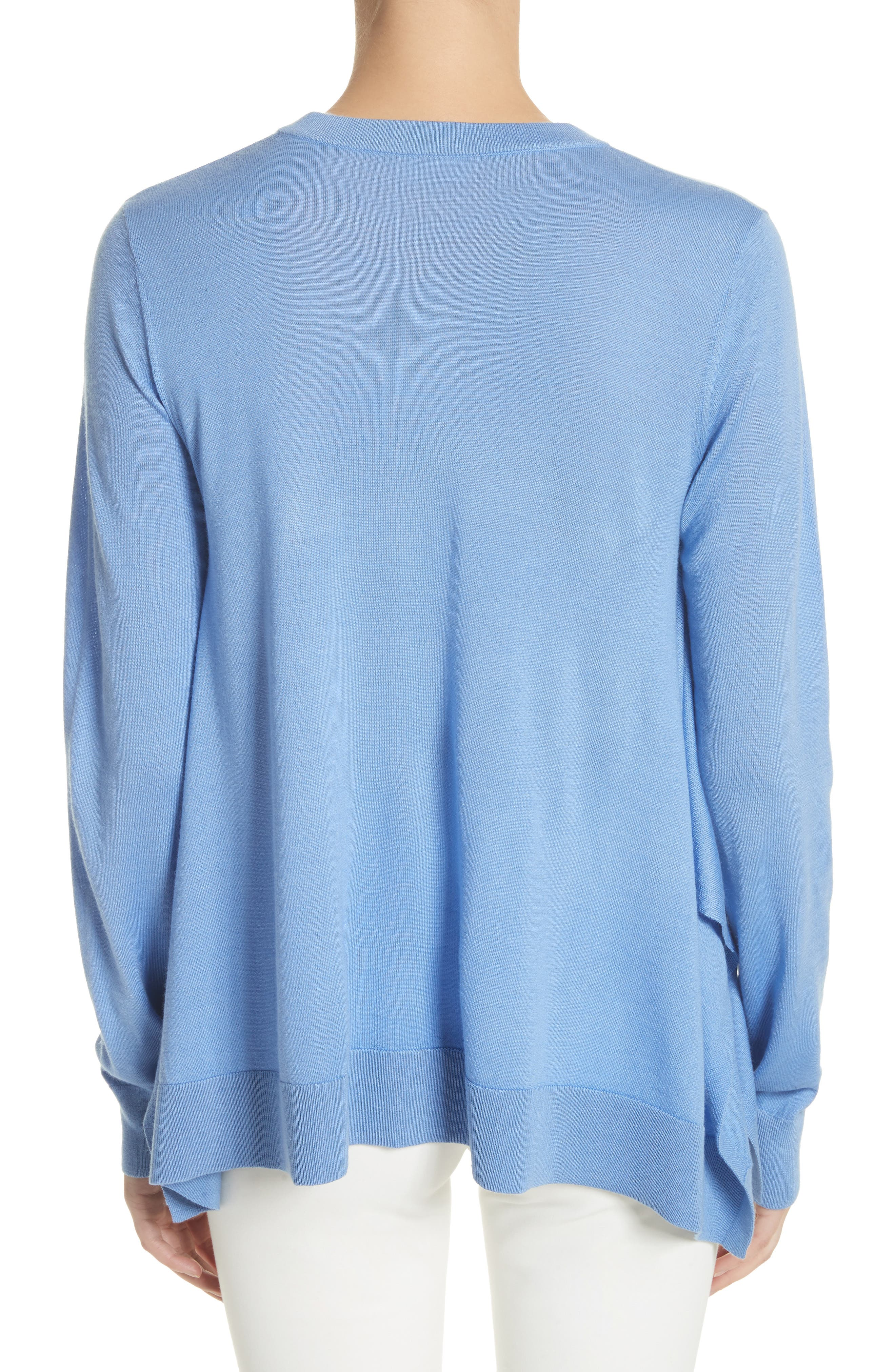 Draped Wool, Silk & Cashmere Sweater,                             Alternate thumbnail 4, color,